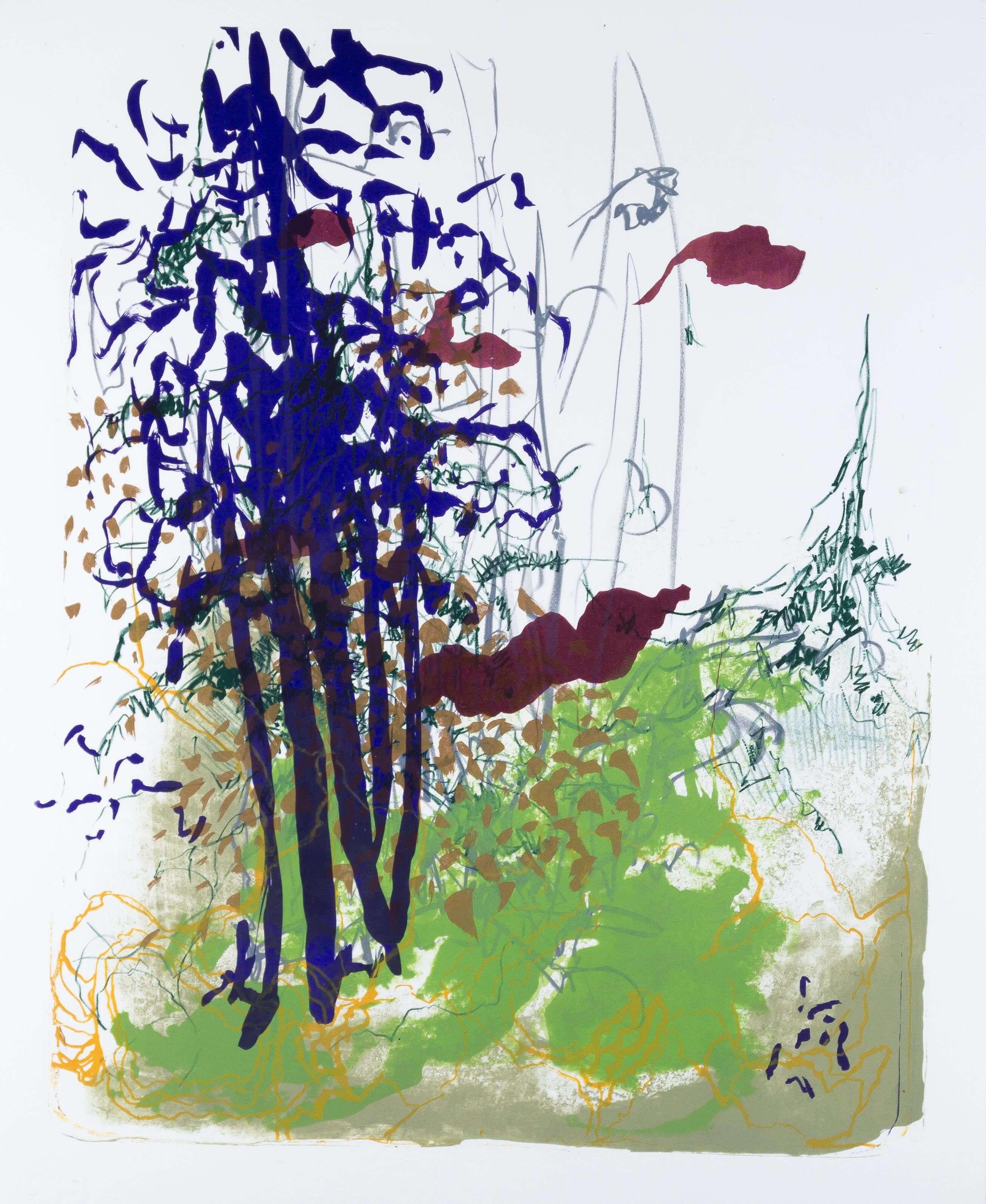 Katharina Albers: Wald X(F)-I, 2017, Farb-Lithographie, Unikat, 50x40 cm