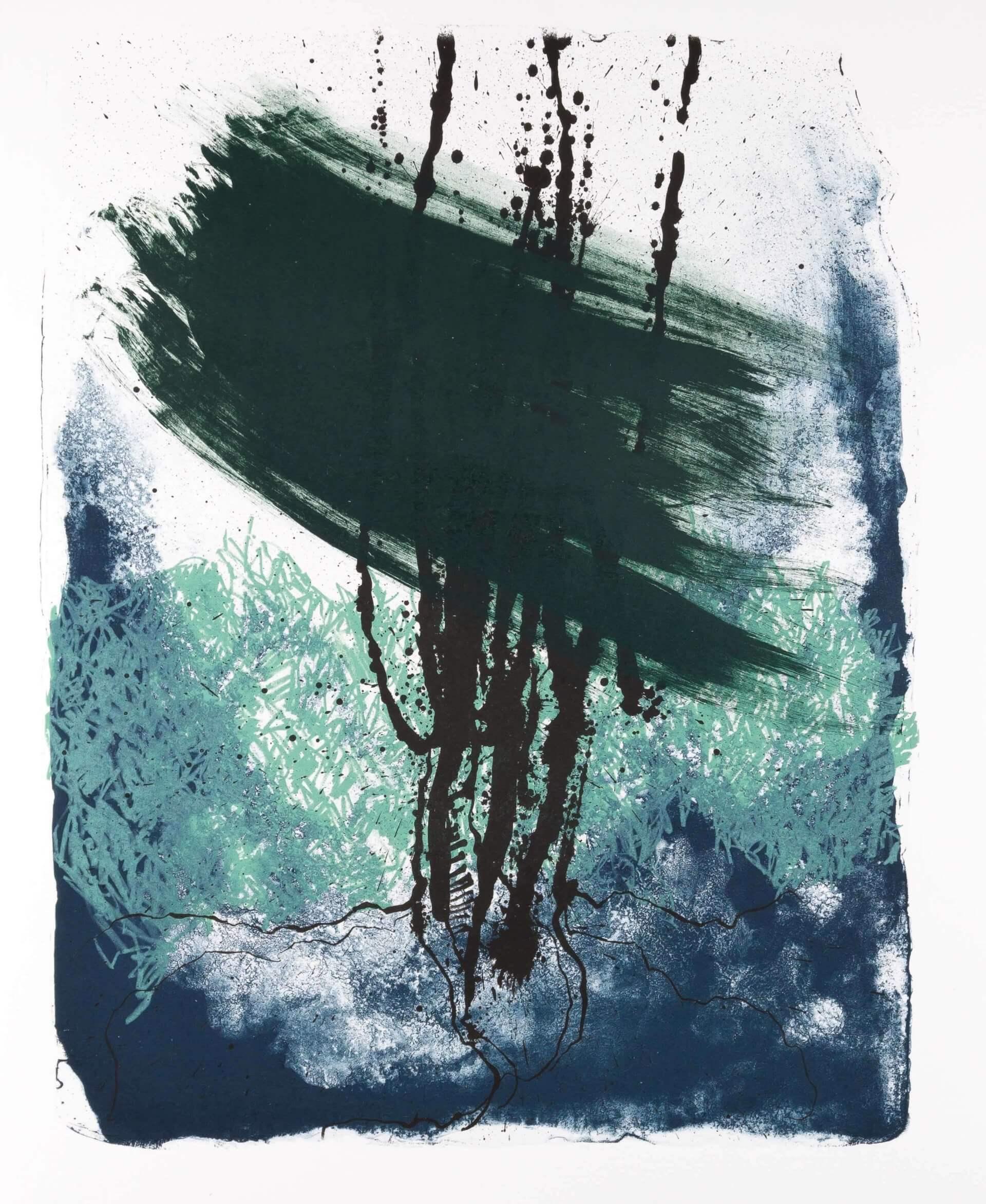 Katharina Albers: Wald X(F)-II, 2017, Farb-Lithographie, Unikat, 50x40 cm