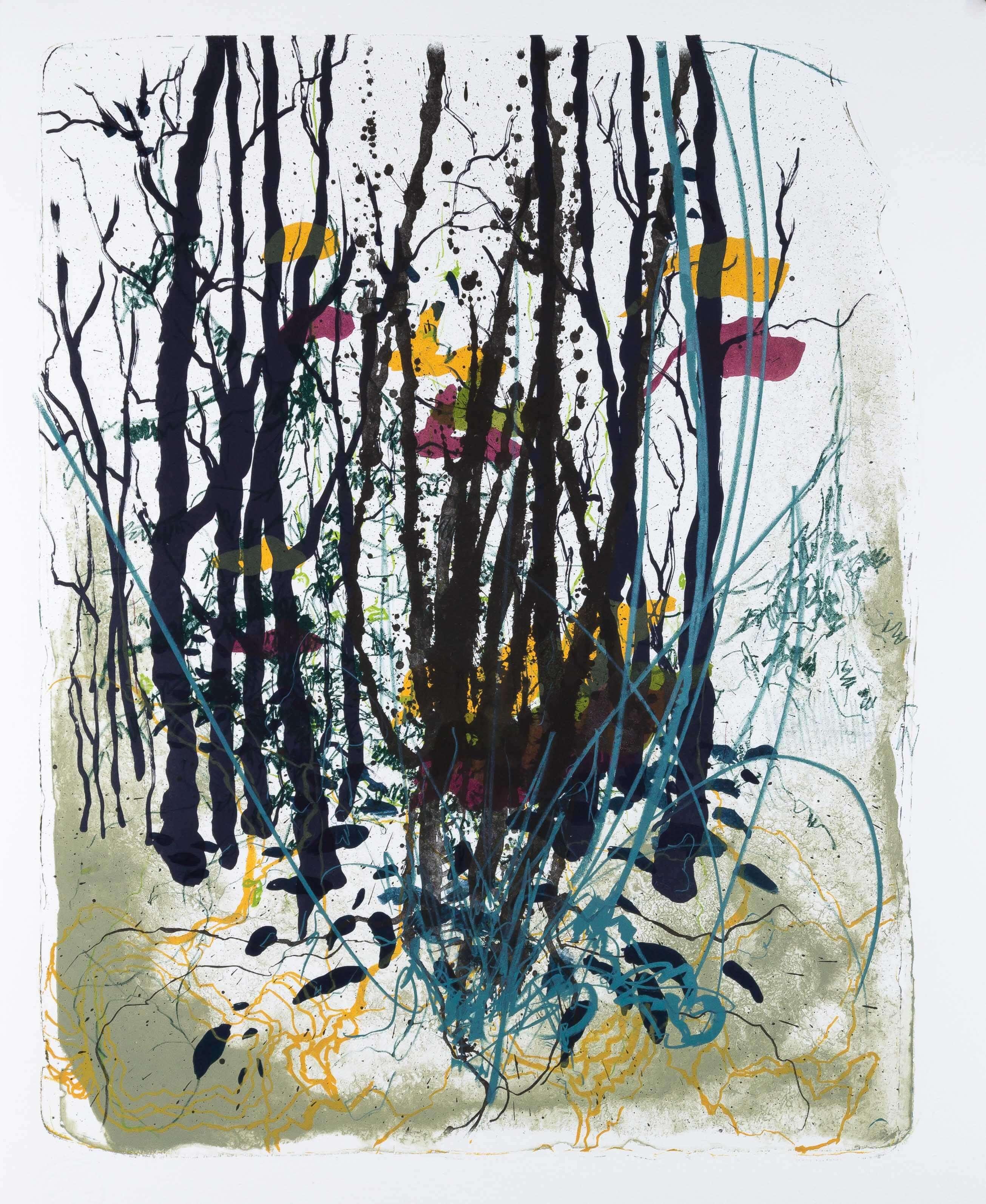 Katharina Albers: Wald X(F)-III, 2017, Farb-Lithographie, Unikat, 50x40 cm