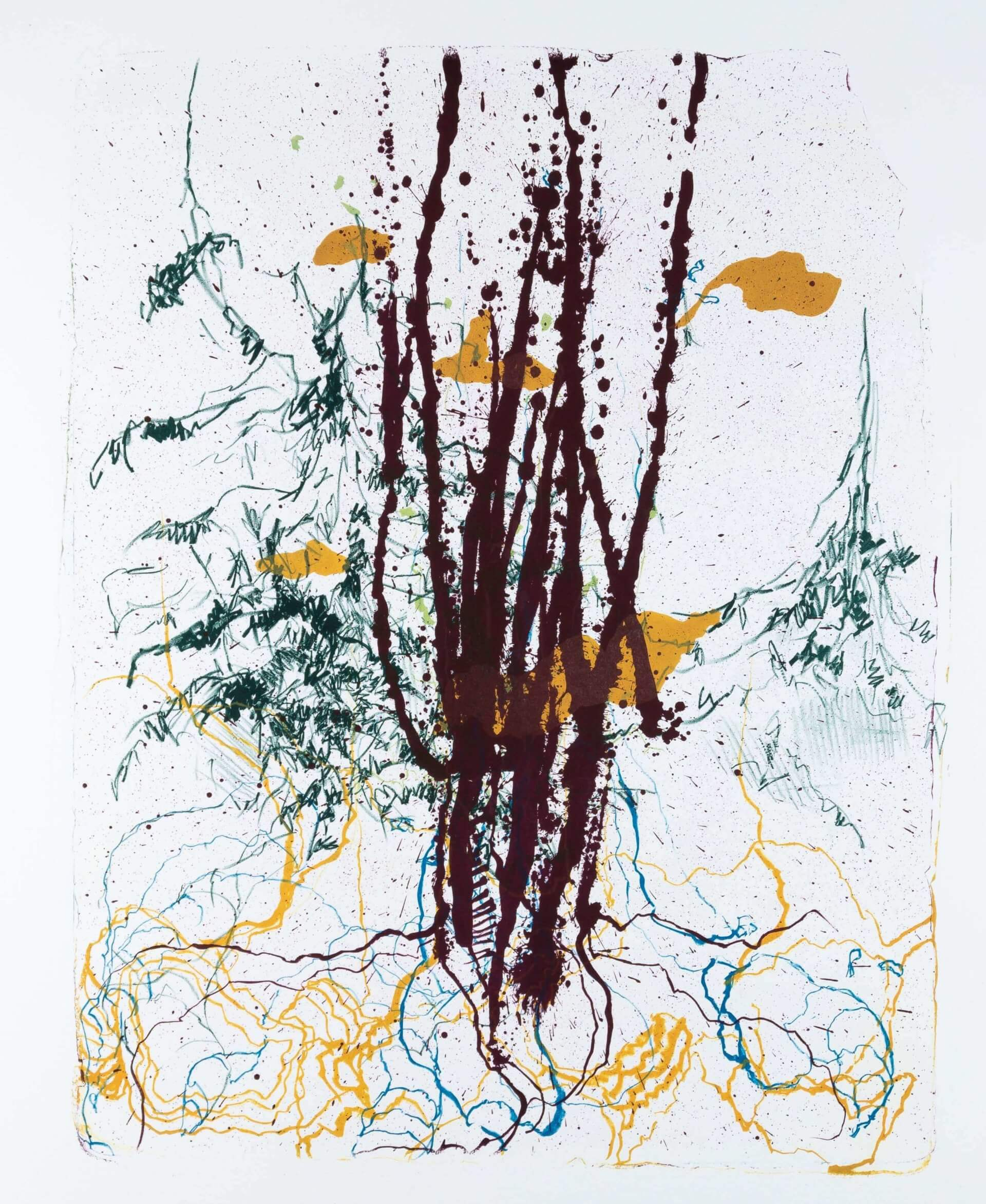 Katharina Albers: Wald X(F)-IV, 2017, Farb-Lithographie, Unikat, 50x40 cm