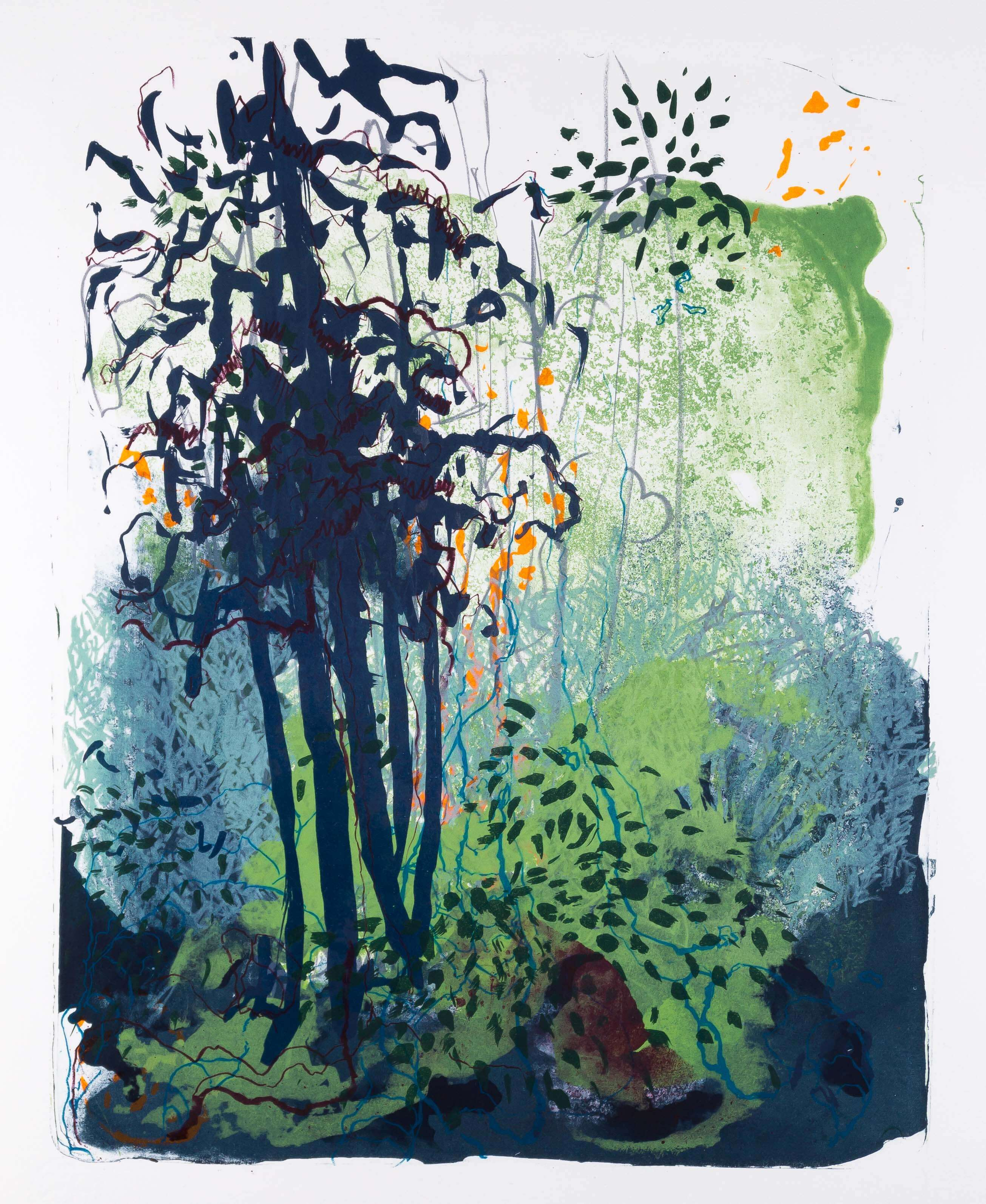 Katharina Albers. Wald X(F)-IX, 2017, Farb-Lithographie, Unikat, 50x40 cm
