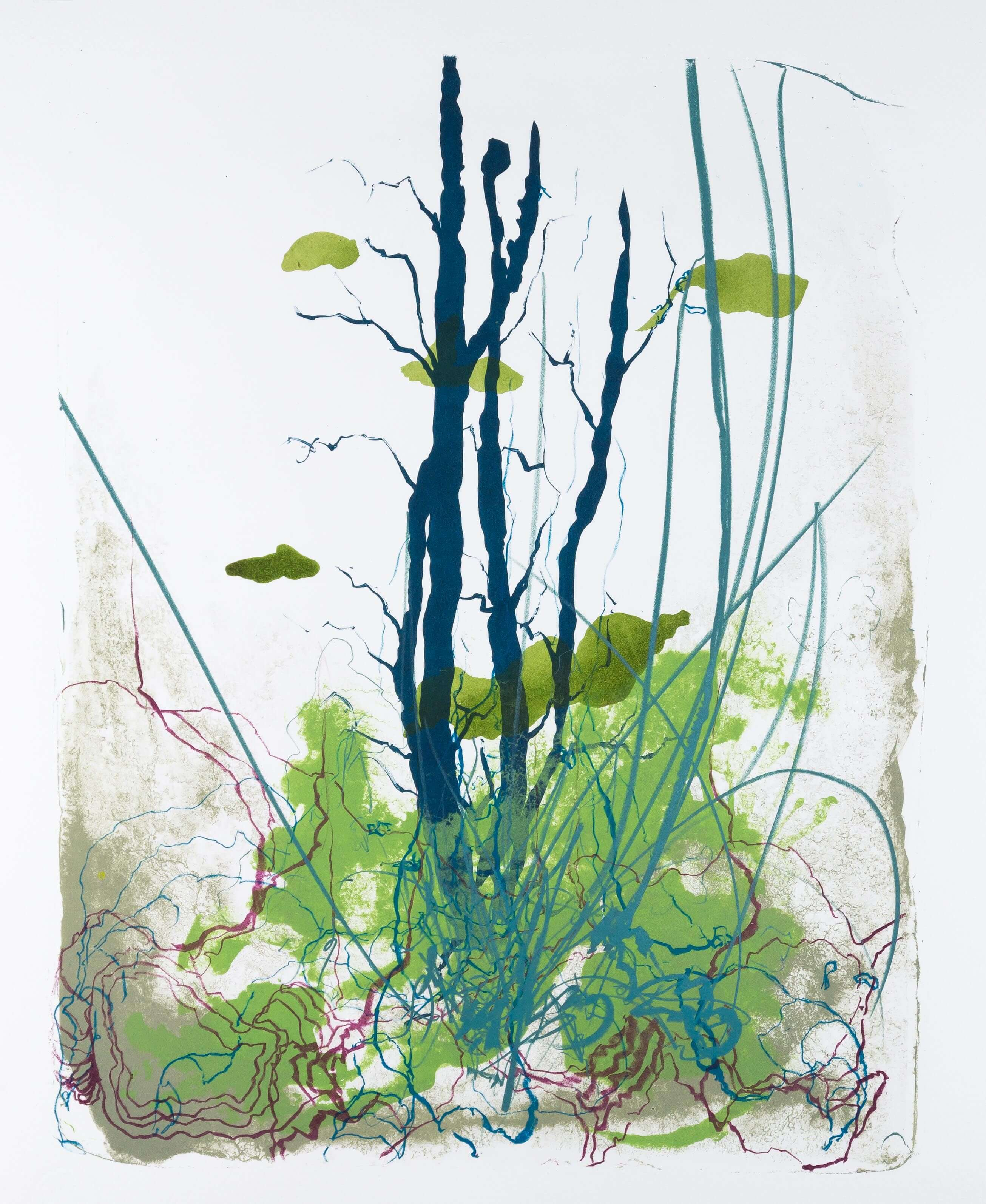 Katharina Albers: Wald X(F)-V, 2017, Farb-Lithographie, Unikat, 50x40 cm