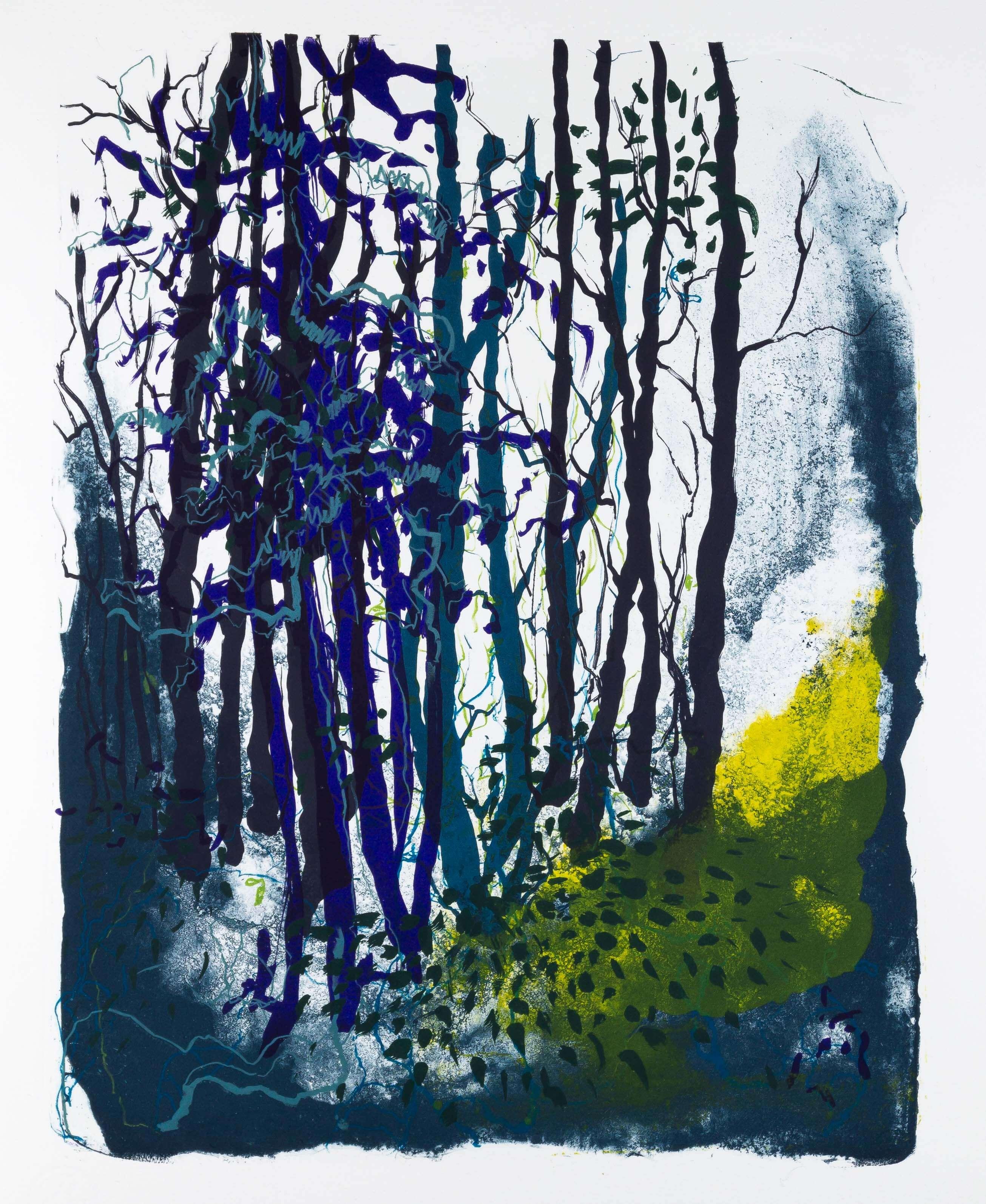 Katharina Albers: Wald X(F)-VI, 2017, Farb-Lithographie, Unikat, 50x40 cm