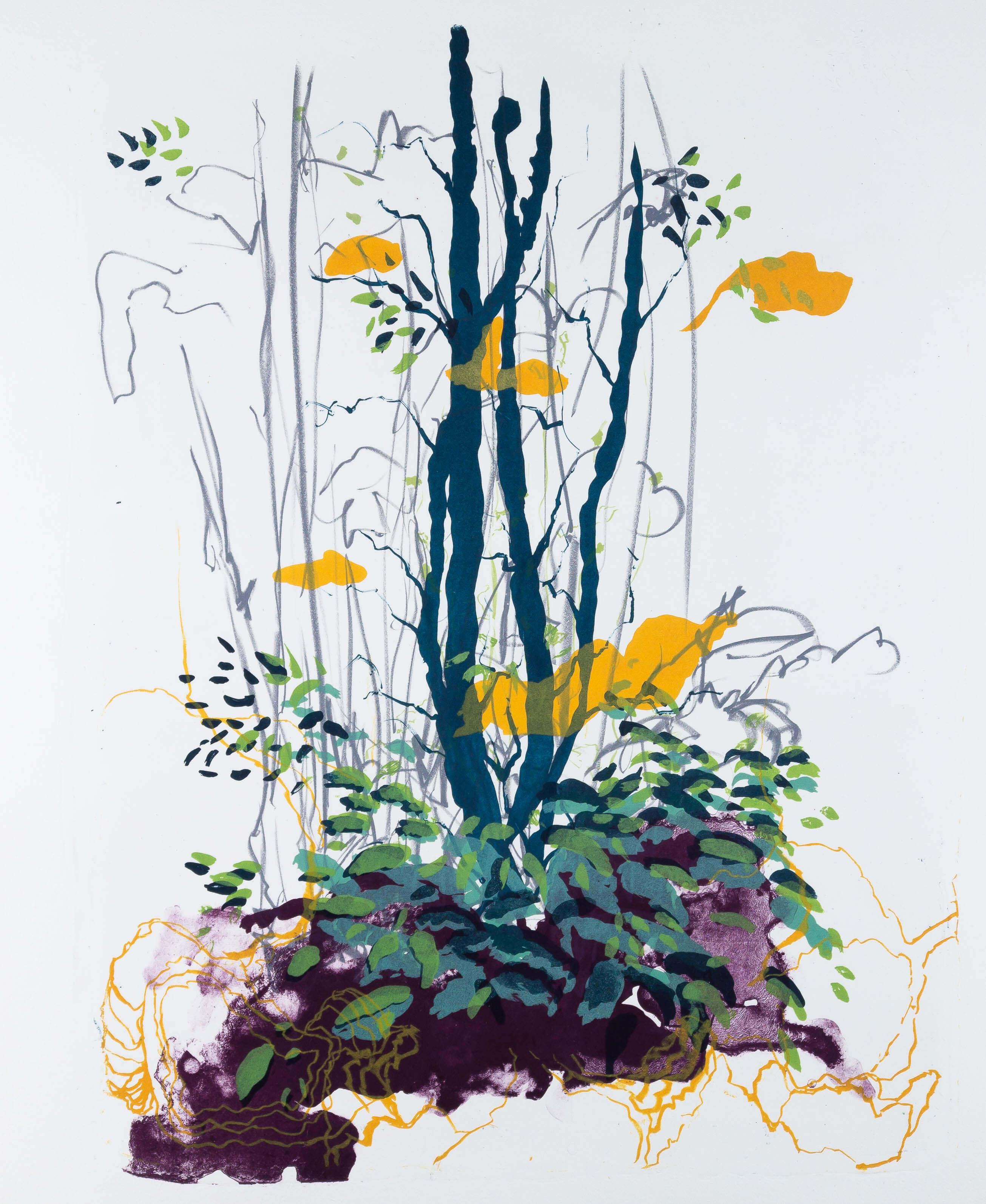 Katharina Albers: Wald X(F)-VIII, 2017, Farb-Lithographie, Unikat, 50x40 cm