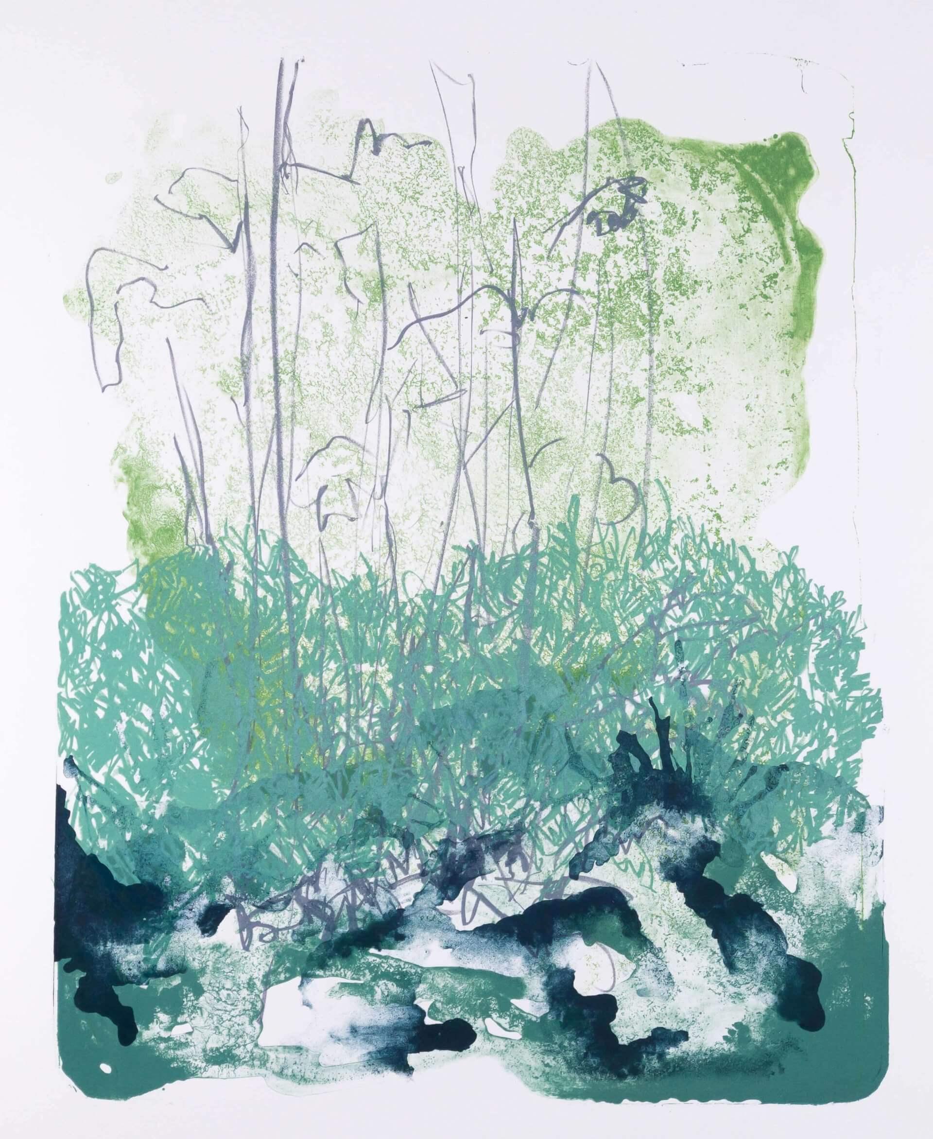 Katharina Albers: Wald X(F)-X, 2017, Farb-Lithographie, Unikat, 50x40 cm
