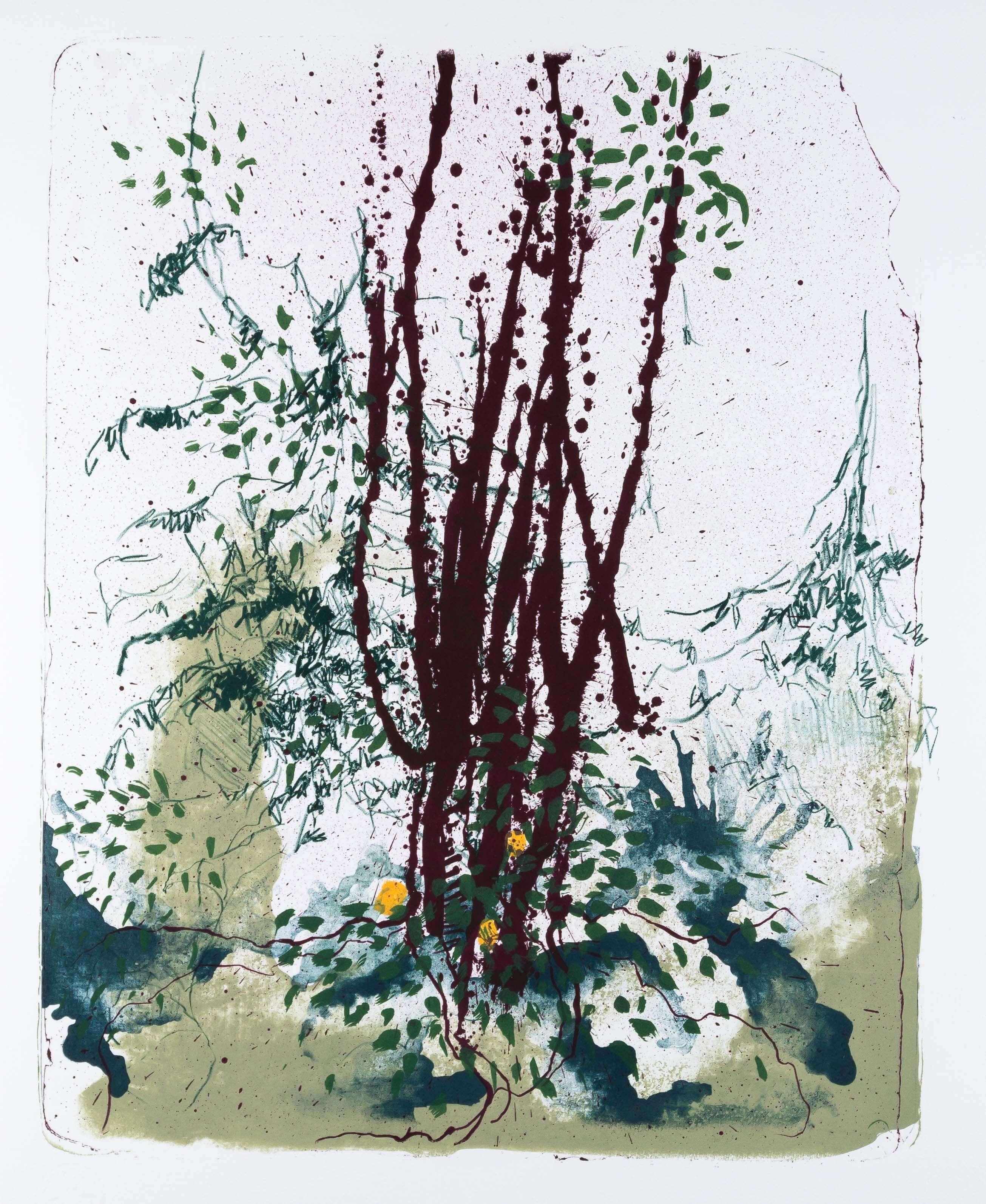 Katharina Albers: Wald X(F)-XI, 2017, Farb-Lithographie, Unikat, 50x40 cm