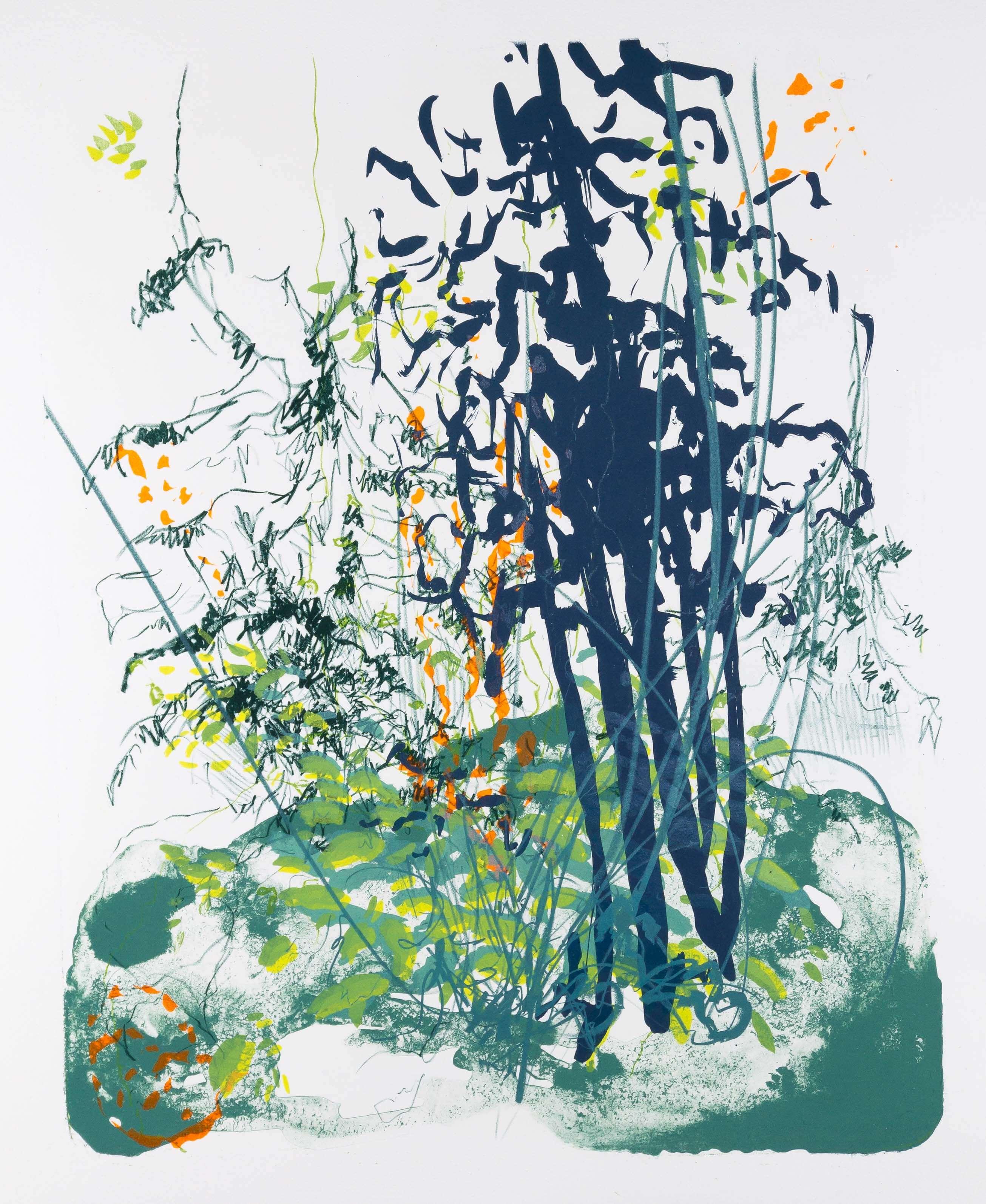 Katharina Albers: Wald X(F)-XII, 2017, Farb-Lithographie, Unikat, 50x40 cm
