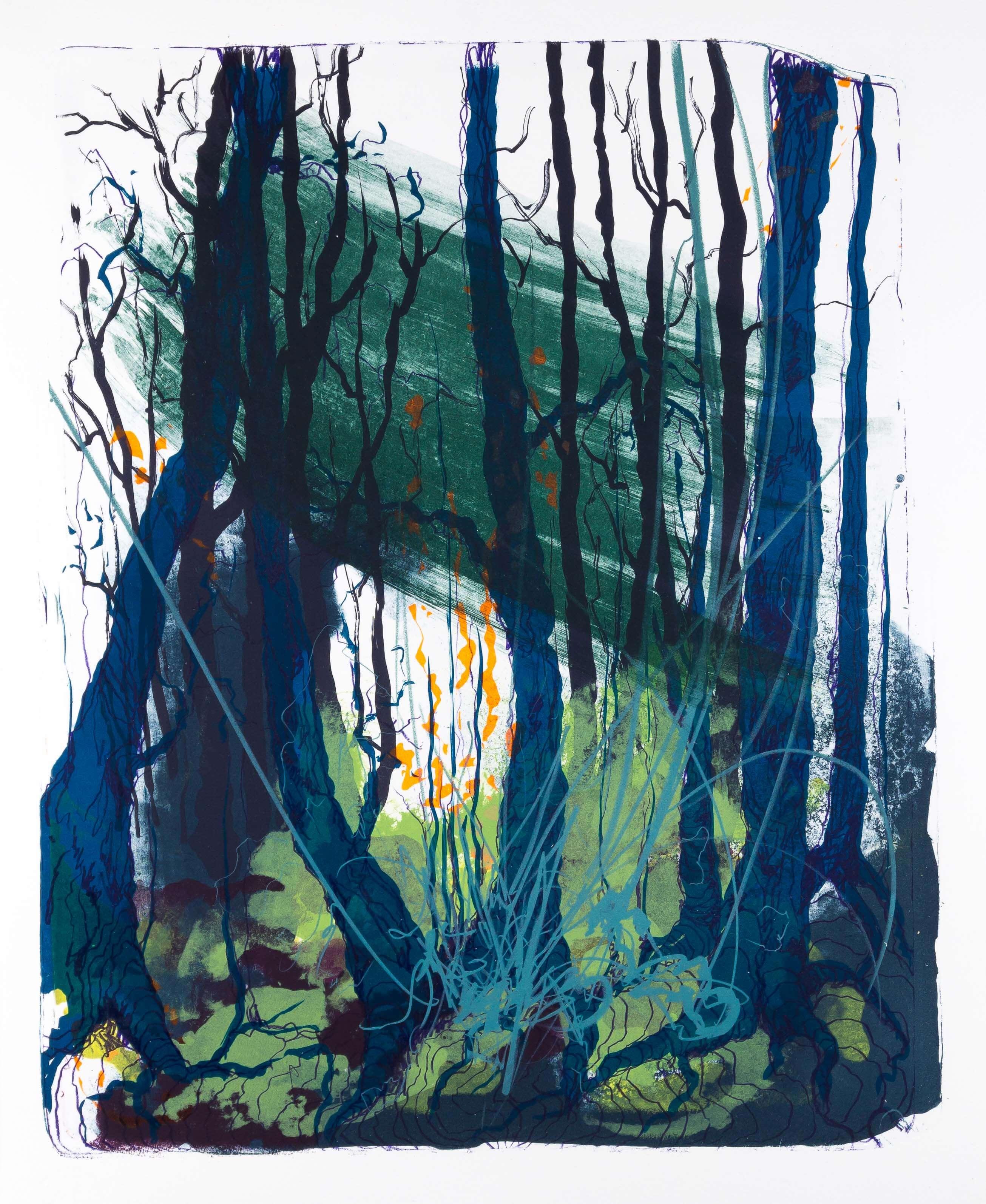 Katharina Albers: Wald X(F)-XIII, 2017, Farb-Lithographie, Unikat, 50x40 cm