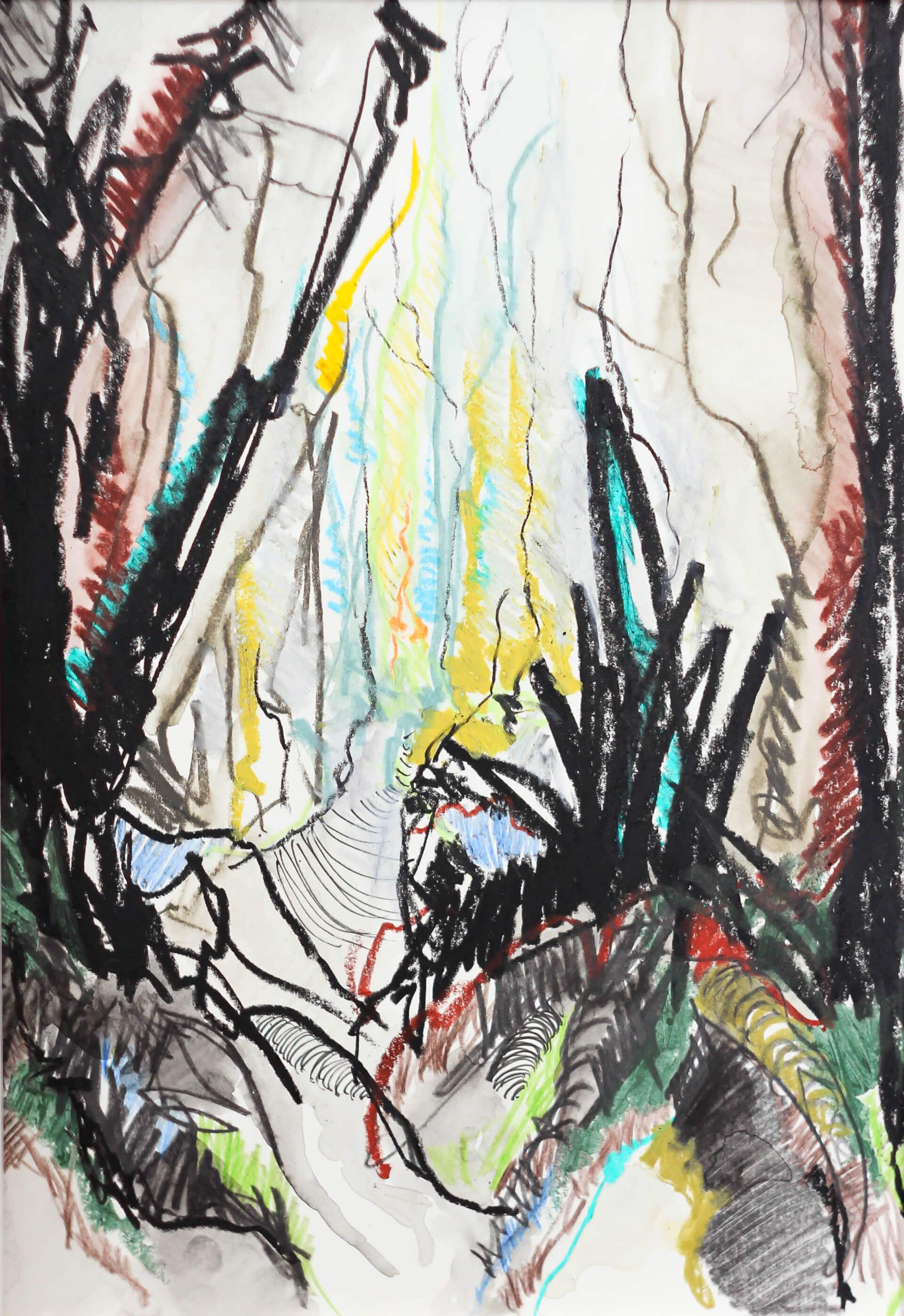 Katharina Albers, Wald I, 2014, Ölkreide, Tusche, Aquarell, Graphit auf Papier, 29,7×21 cm