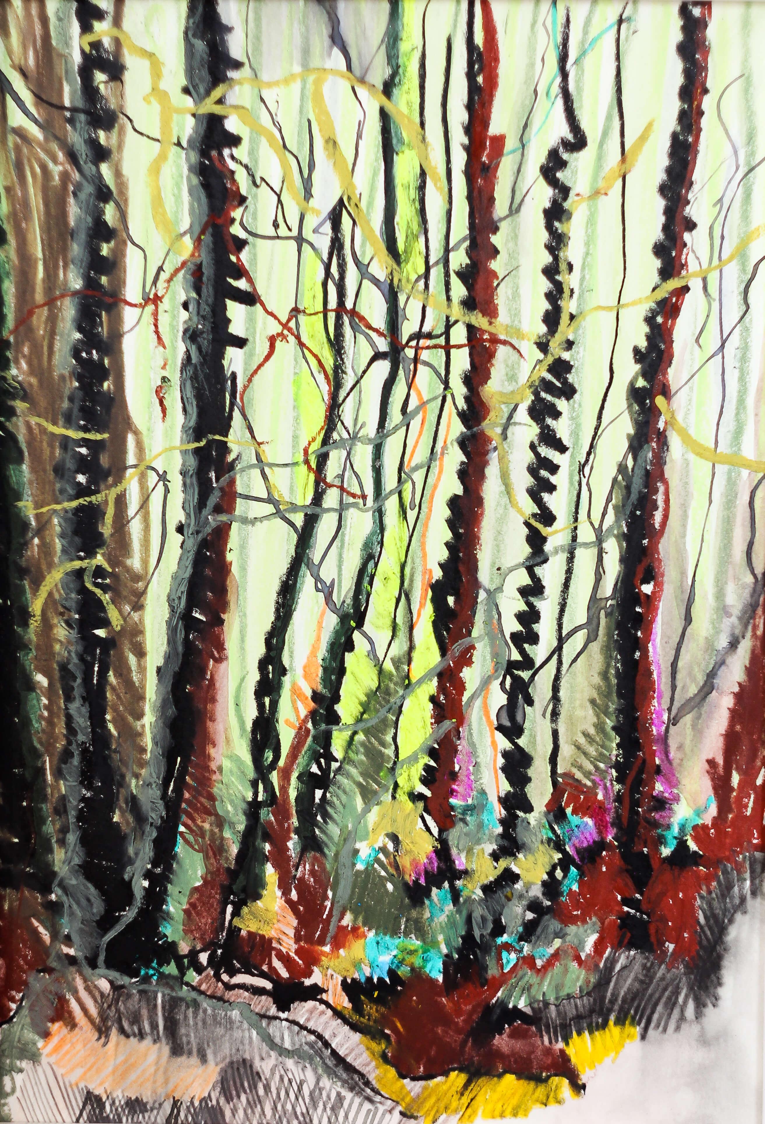 Katharina Albers, Wald II, 2014, Ölkreide, Tusche, Aquarell, Graphit auf Papier, 29,7×21 cm
