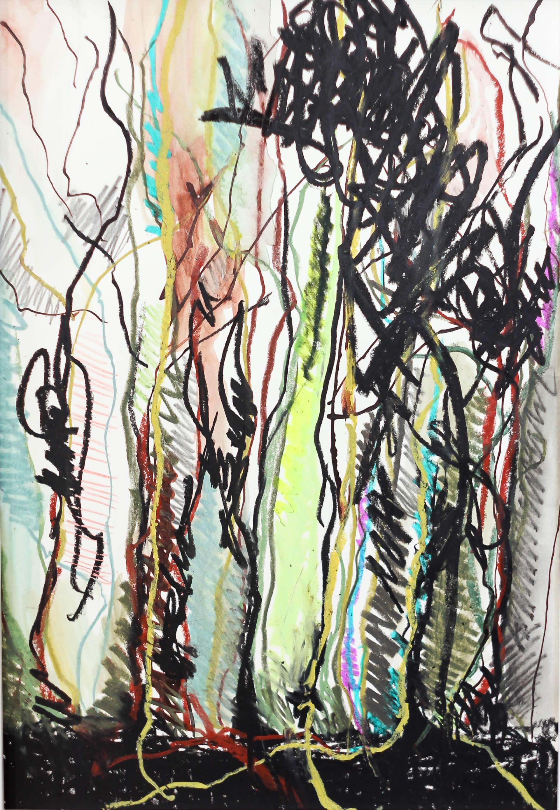 Katharina Albers, Wald III, 2014, Ölkreide, Tusche, Aquarell, Graphit auf Papier, 29,7×21 cm