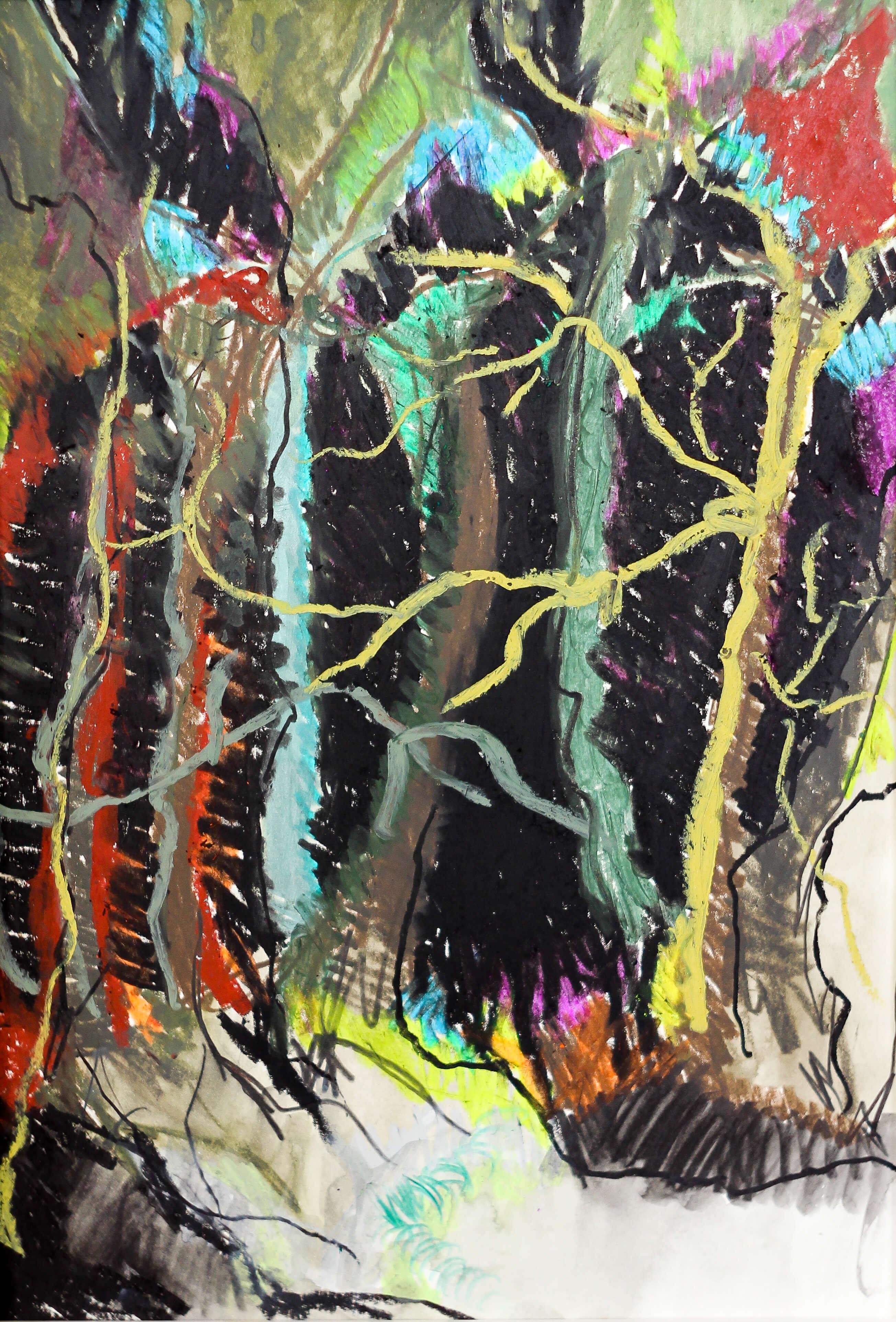 Katharina Albers, Wald IV, 2014, Ölkreide, Tusche, Aquarell, Graphit auf Papier, 29,7×21 cm