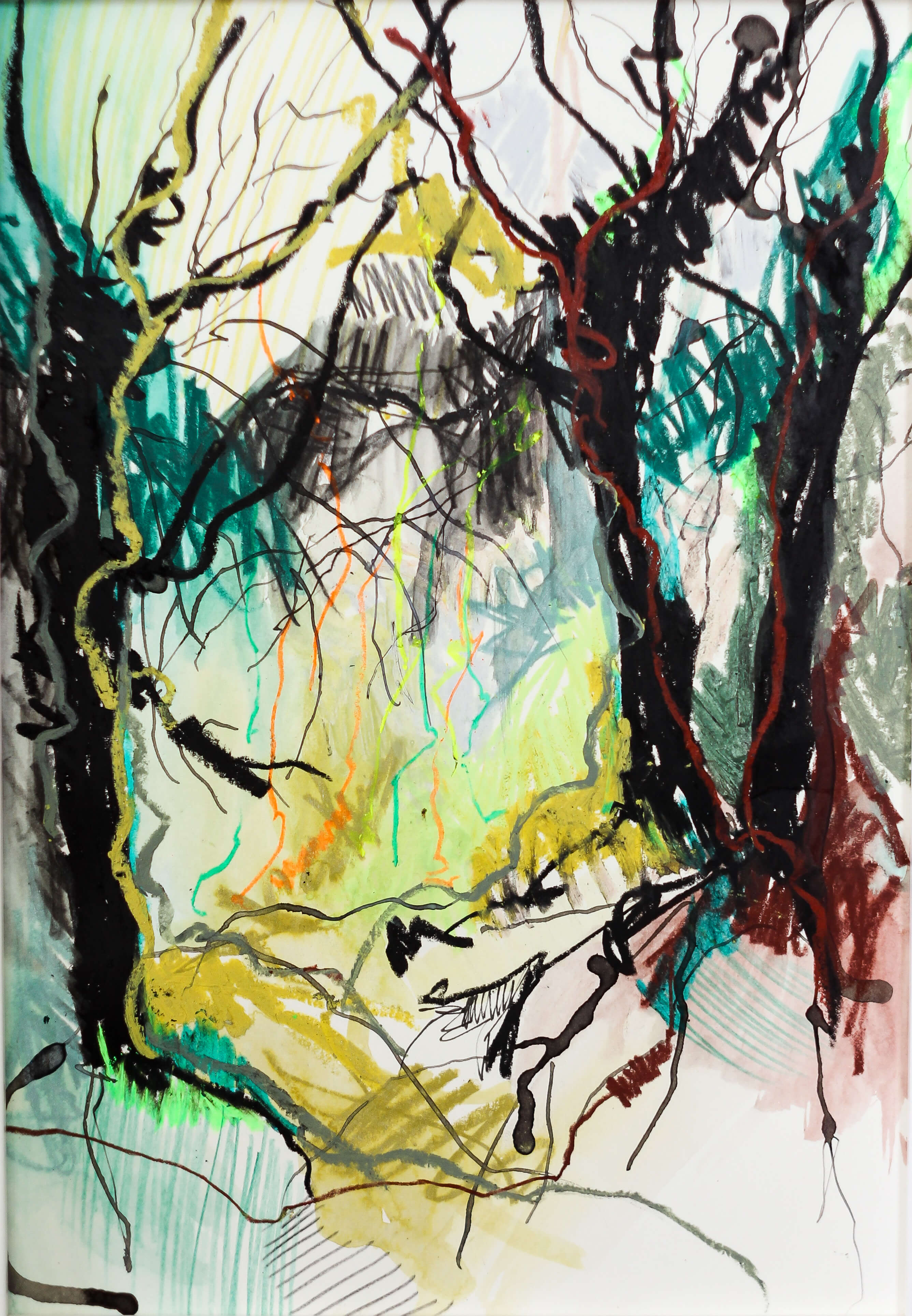 Katharina Albers, Wald V, 2014, Ölkreide, Tusche, Aquarell, Graphit auf Papier, 29,7×21 cm