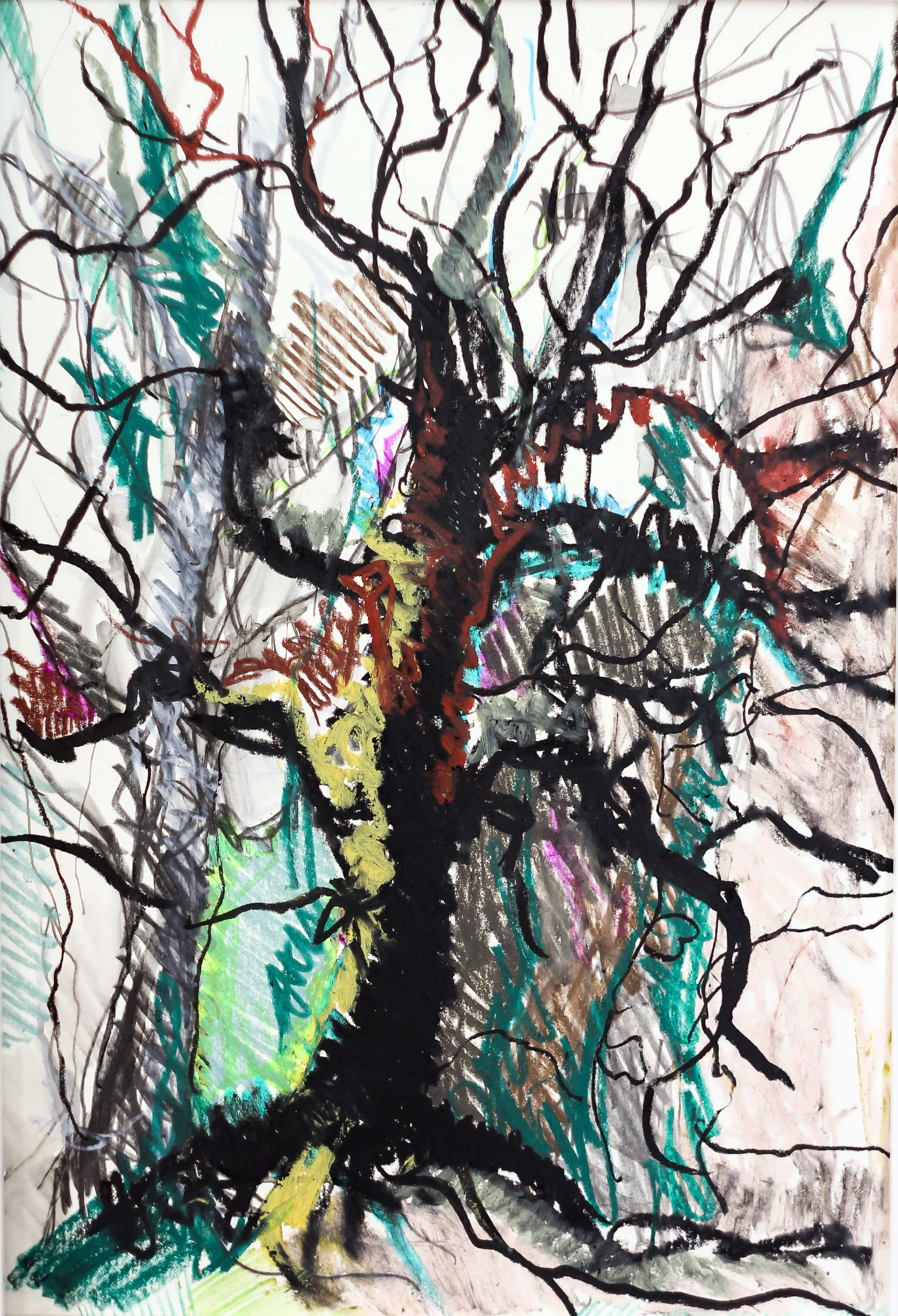 Katharina Albers, Wald VI, 2014, Ölkreide, Tusche, Aquarell, Graphit auf Papier, 29,7×21 cm