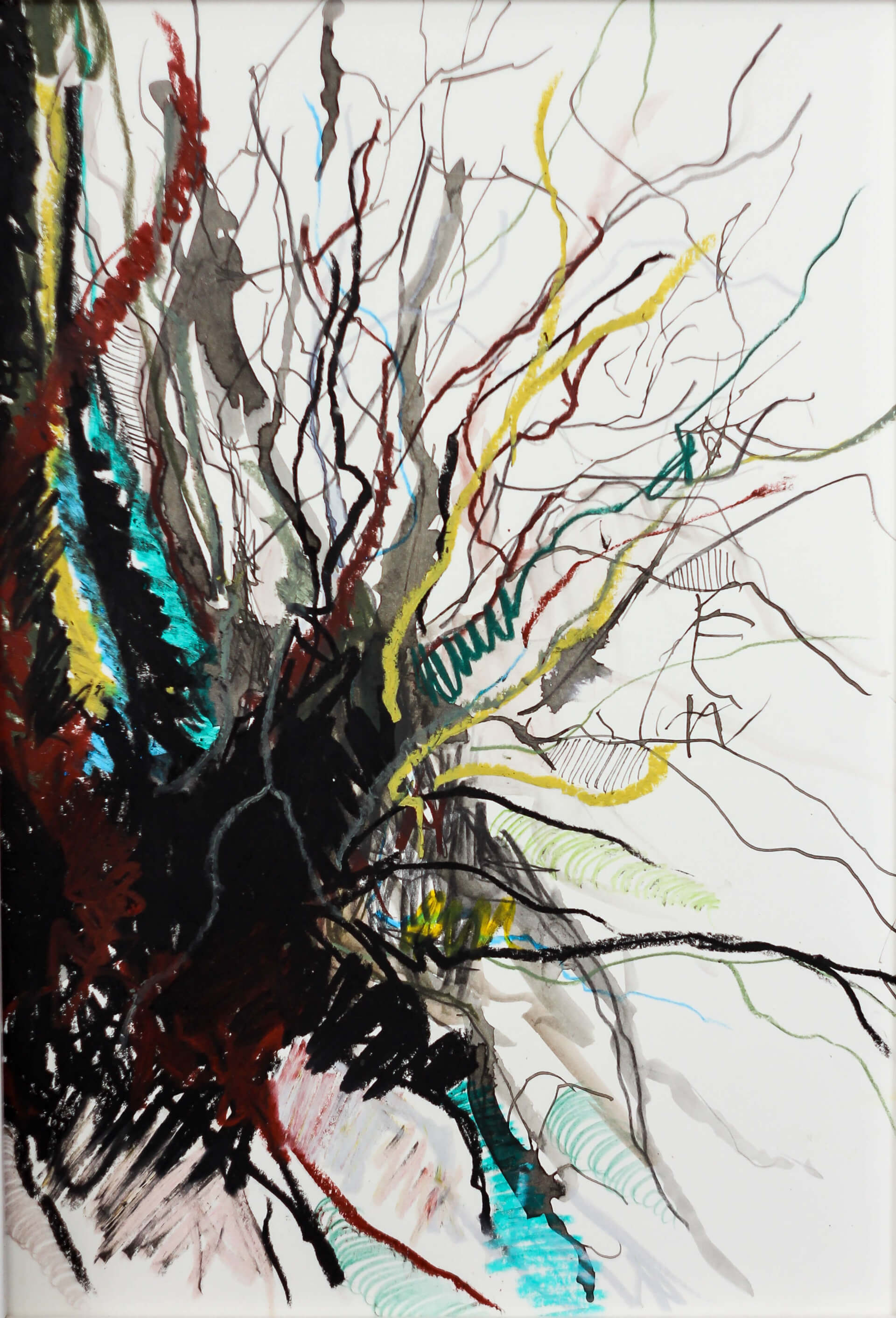 Katharina Albers, Wald VII, 2014, Ölkreide, Tusche, Aquarell, Graphit auf Papier, 29,7×21 cm