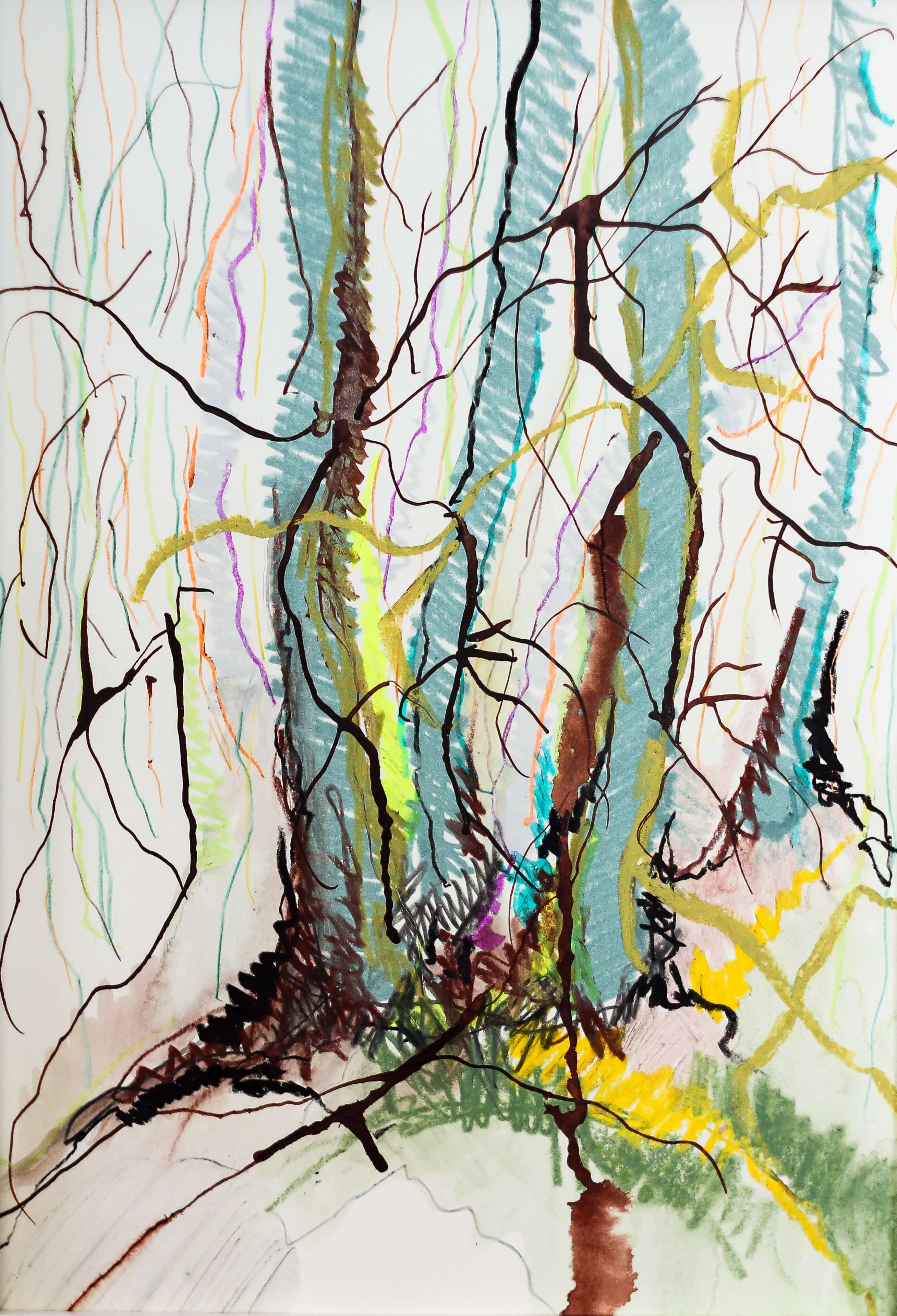 Katharina Albers, Wald VIII, 2014, Ölkreide, Tusche, Aquarell, Graphit auf Papier, 29,7×21 cm