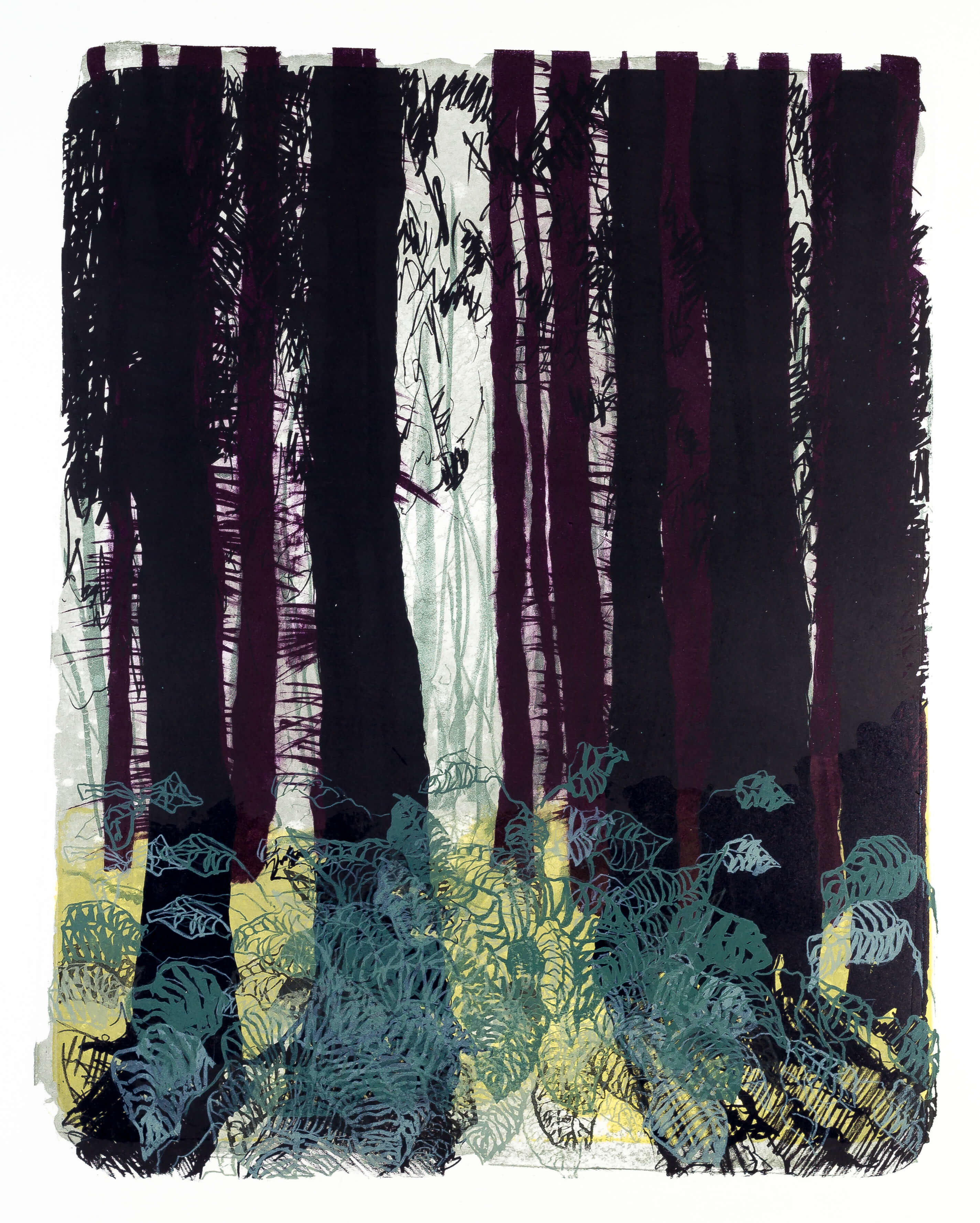 Katharina Albers, Wald X-I, 2015, Farblithographie, Unikat, 50×40 cm