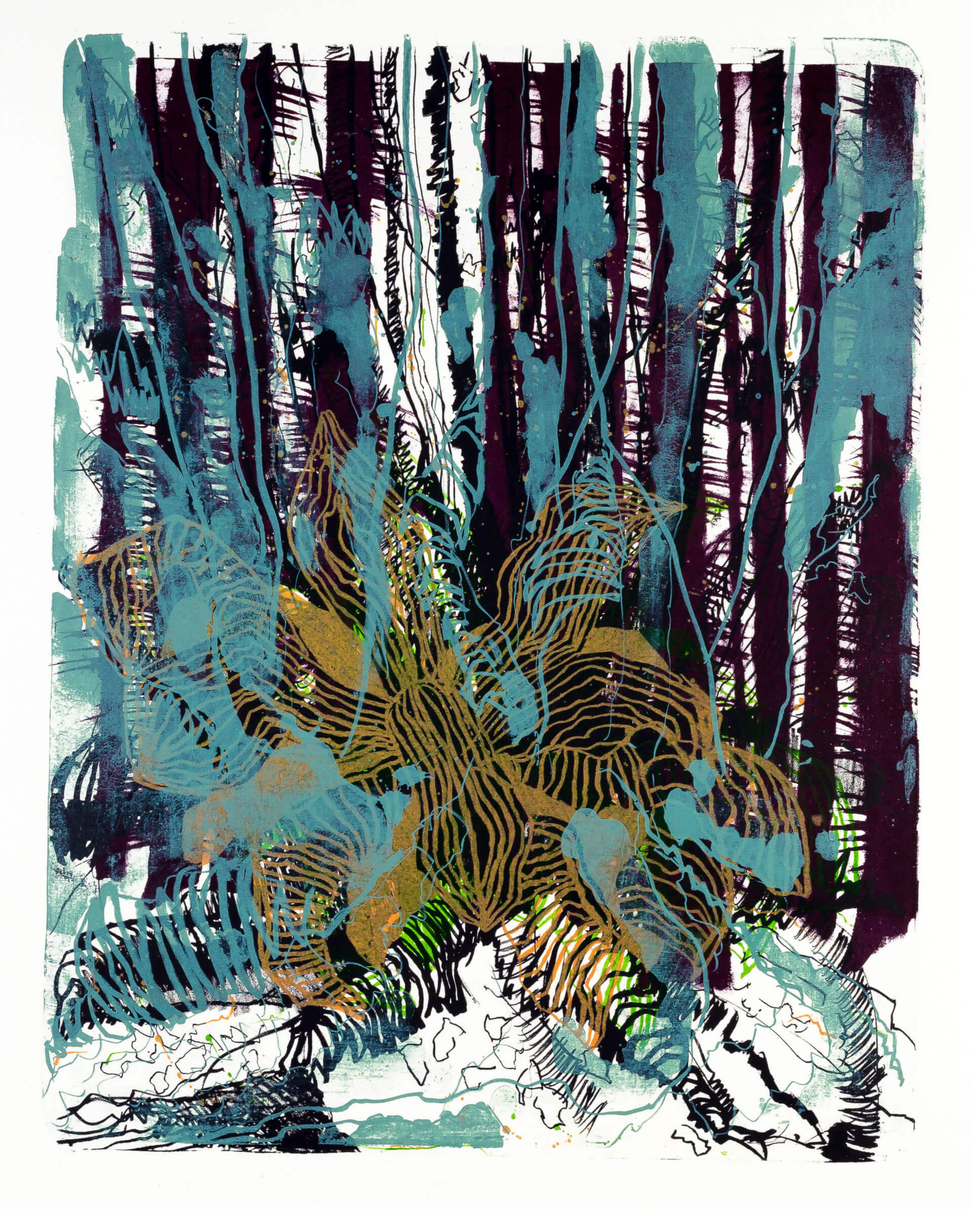 Katharina Albers, Wald X-II, 2015, Farblithographie, Unikat, 50×40 cm