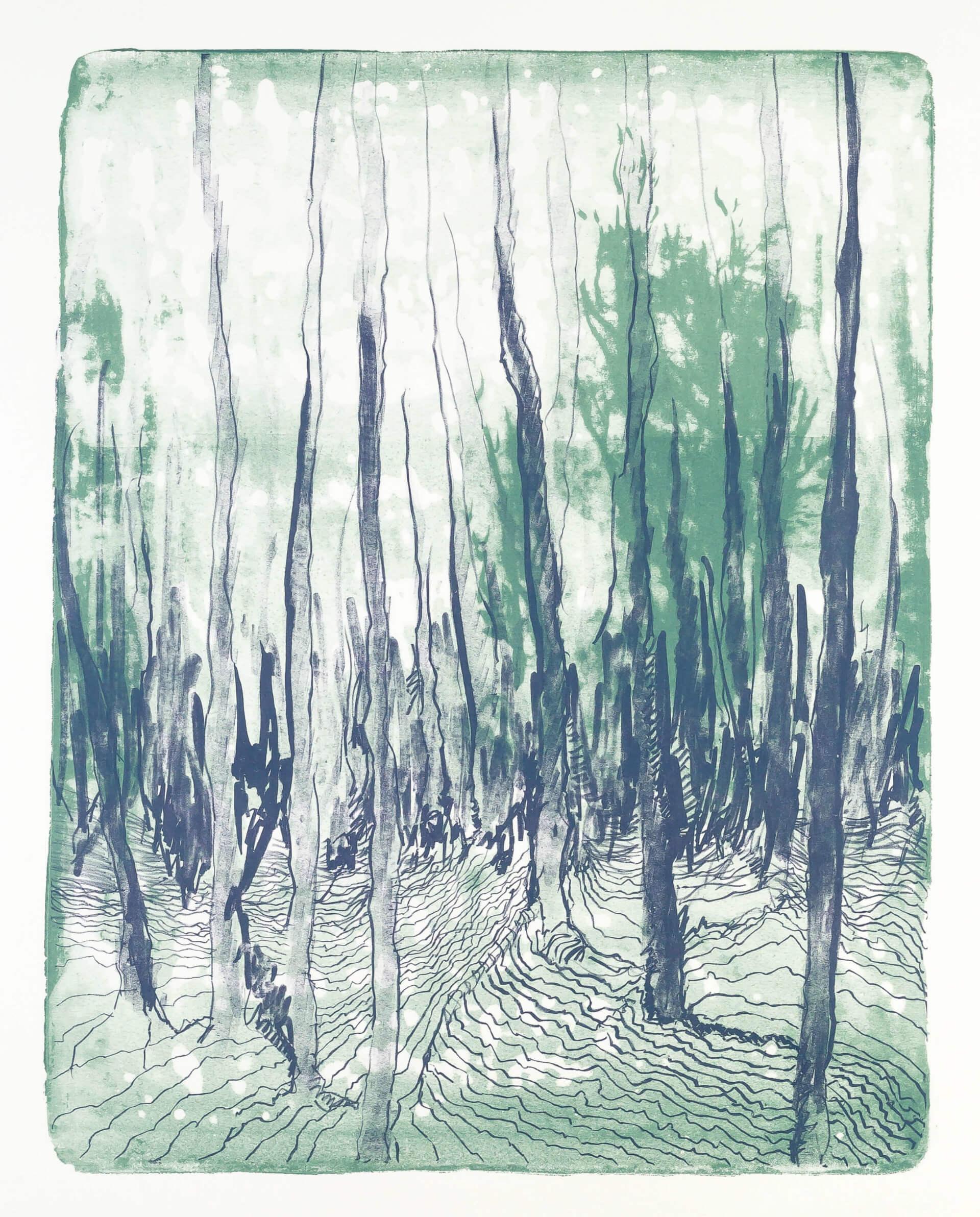 Katharina Albers, Wald X-IV, 2015, Farblithographie, Unikat, 50×40 cm