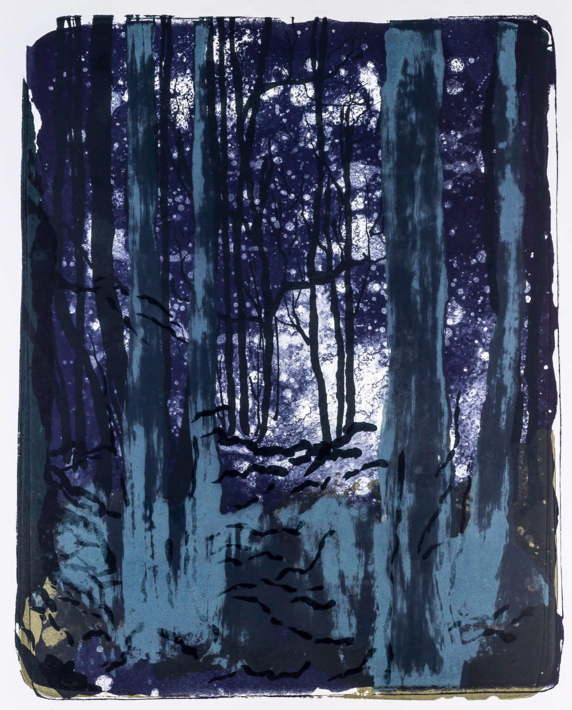 Katharina Albers, Wald X-IX, 2015, Farblithographie, Unikat, 50×40 cm