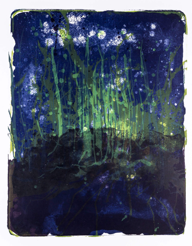 Katharina Albers, Wald X-VI, 2015, Farblithographie, Unikat, 50×40 cm