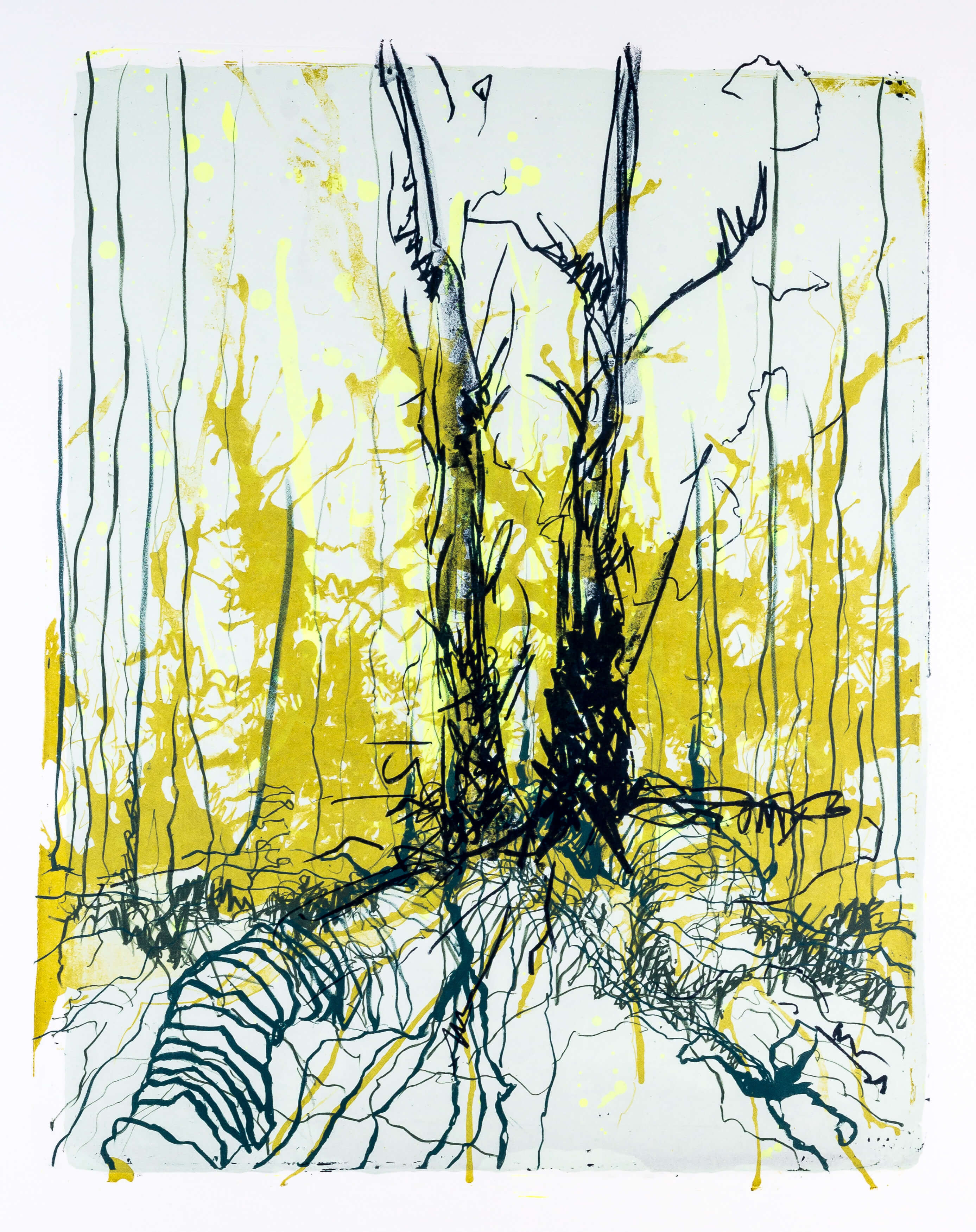 Katharina Albers, Wald X-VII, 2015, Farblithographie, Unikat, 50×40 cm