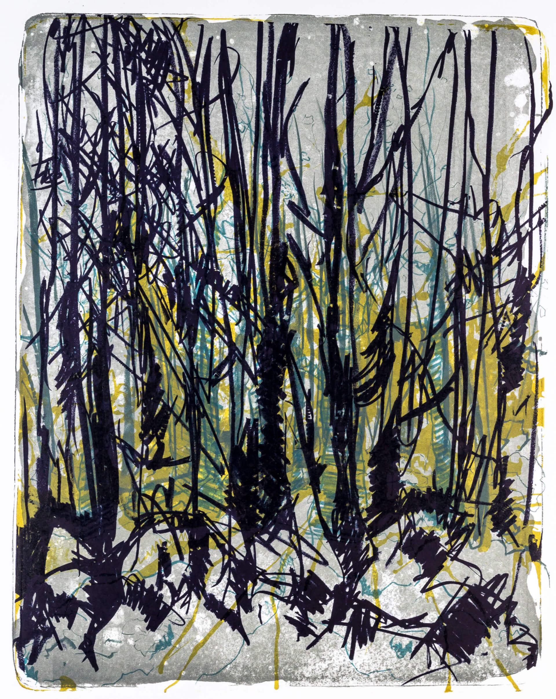 Katharina Albers, Wald X-VIII, 2015, Farblithographie, Unikat, 50×40 cm