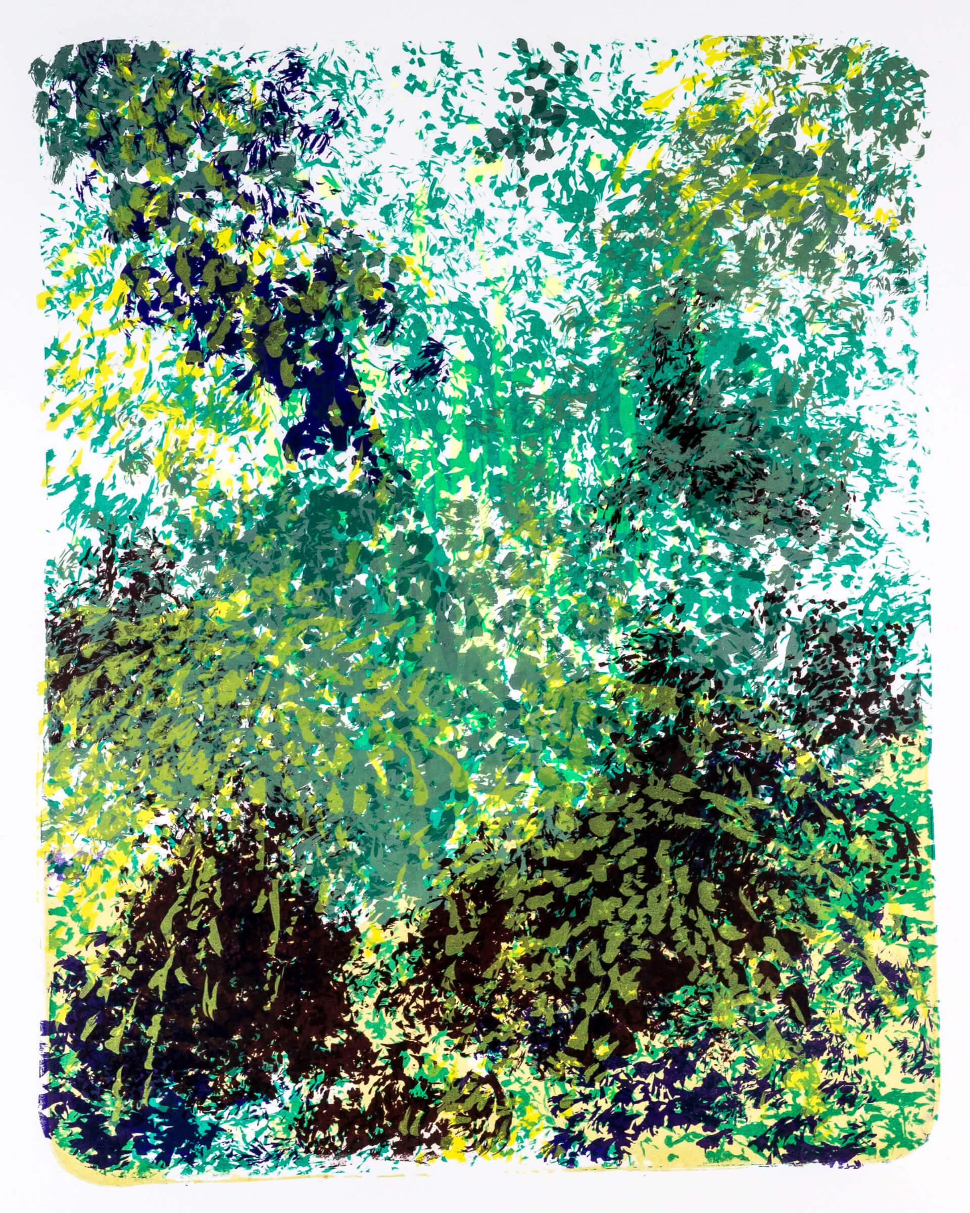 Katharina Albers, Wald X-XI, 2015, Farblithographie, Unikat, 50×40 cm