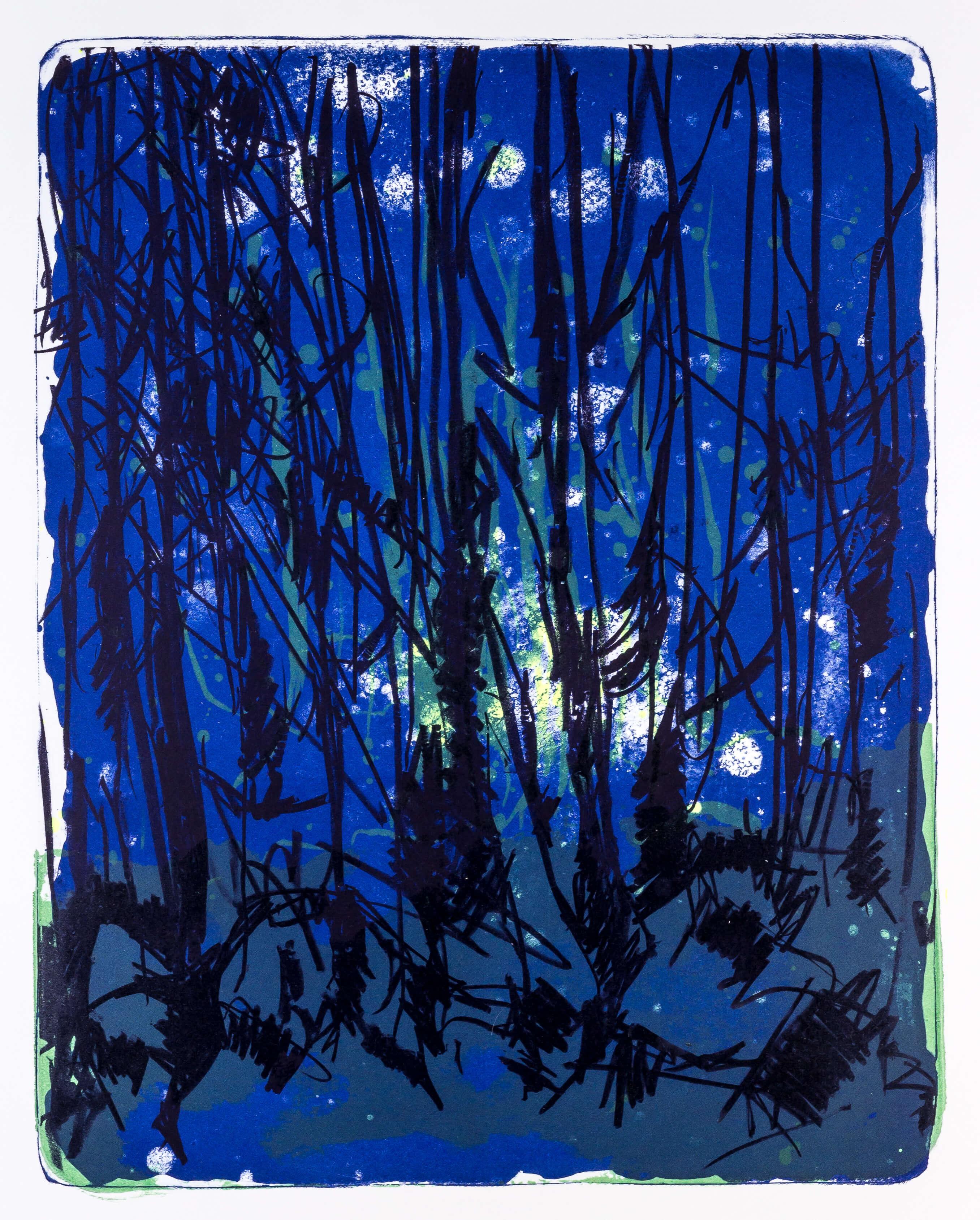 Katharina Albers, Wald X-XII, 2015, Farblithographie, Unikat, 50×40 cm