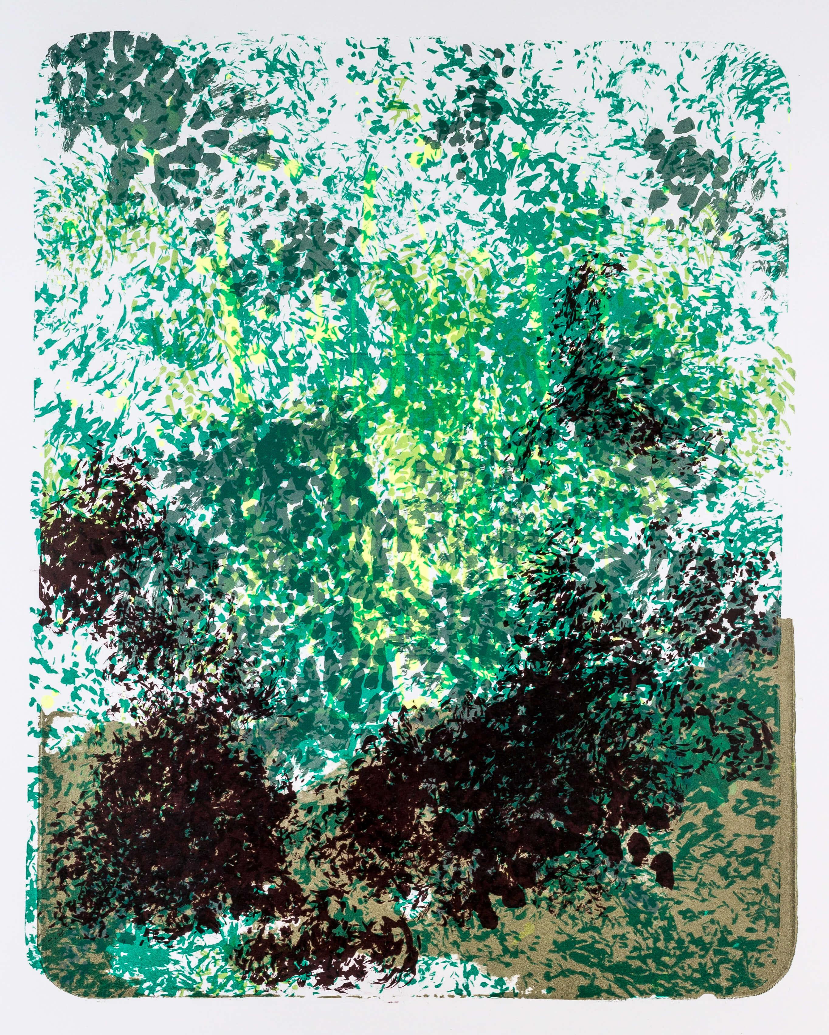 Katharina Albers, Wald X-XIII, 2015, Farblithographie, Unikat, 50×40 cm