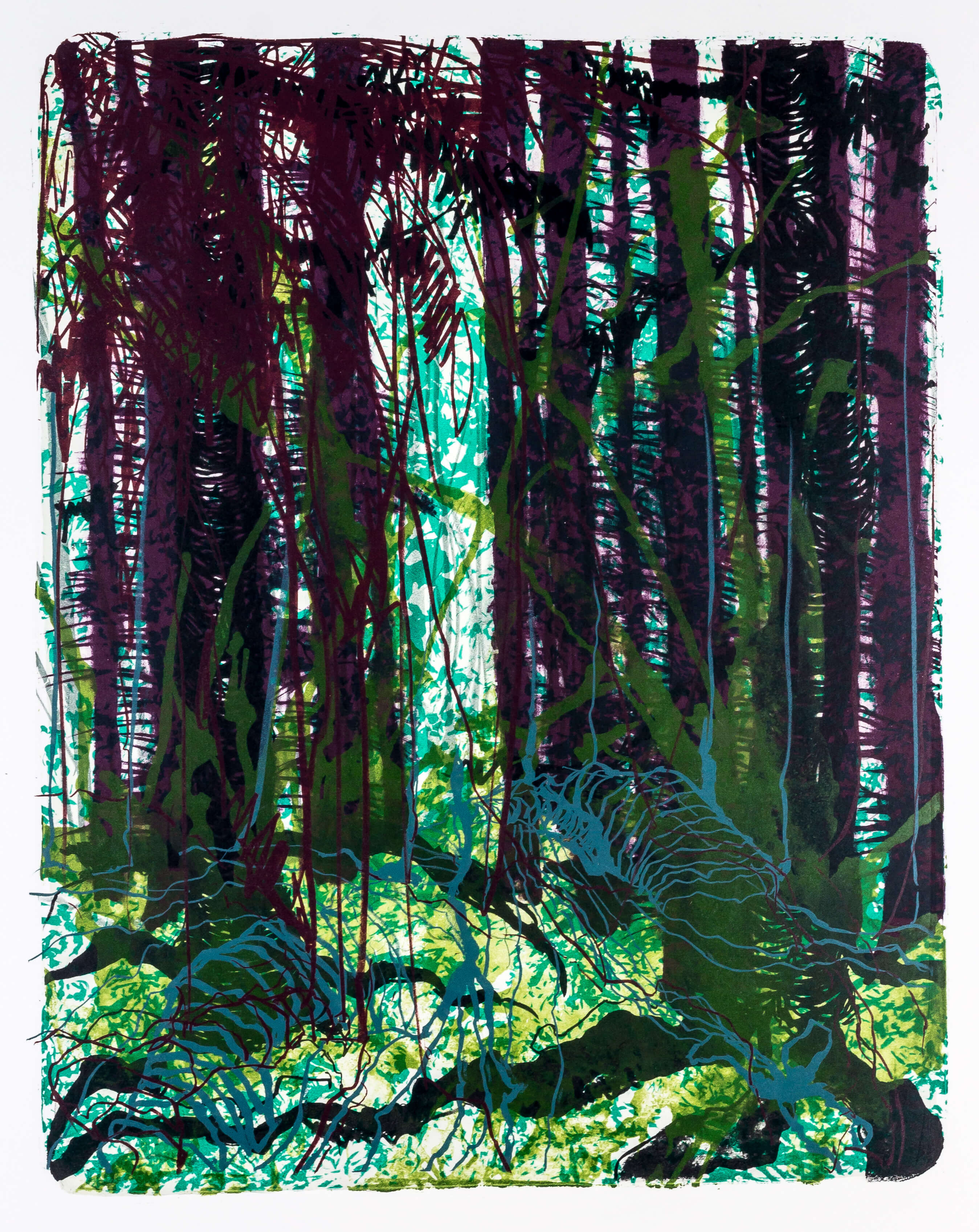 Katharina Albers, Wald X-XIX, 2015, Farblithographie, Unikat, 50×40 cm