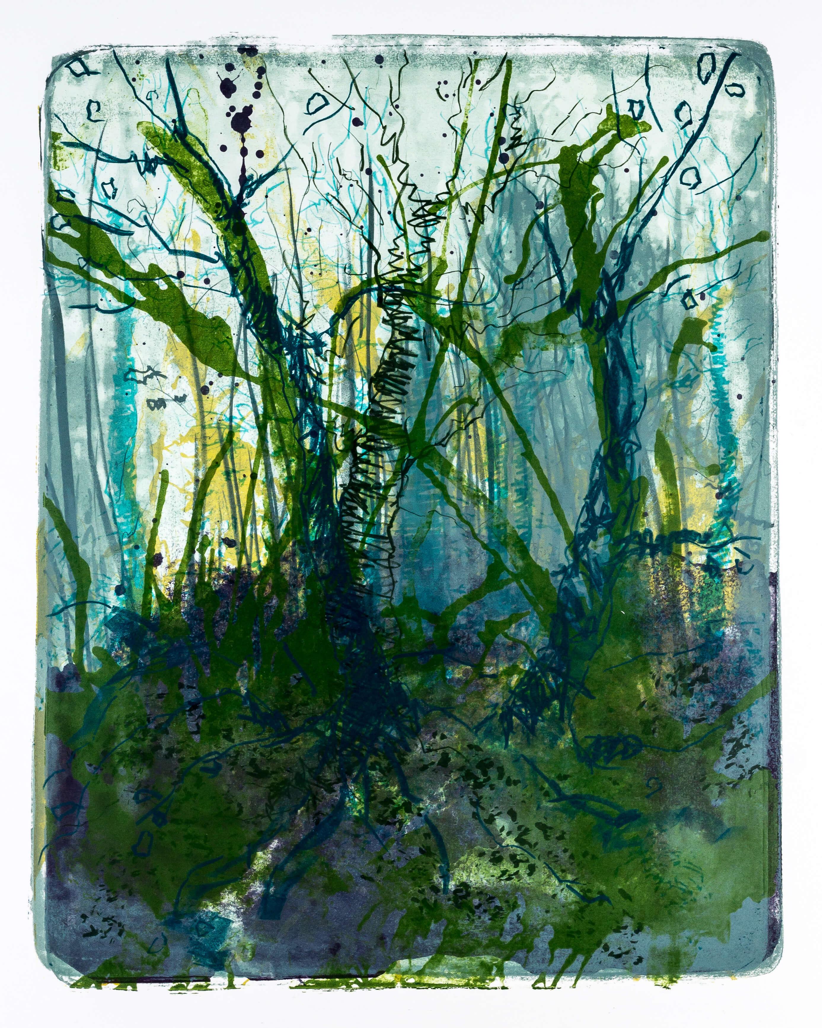 Katharina Albers, Wald X-XV, 2015, Farblithographie, Unikat, 50×40 cm