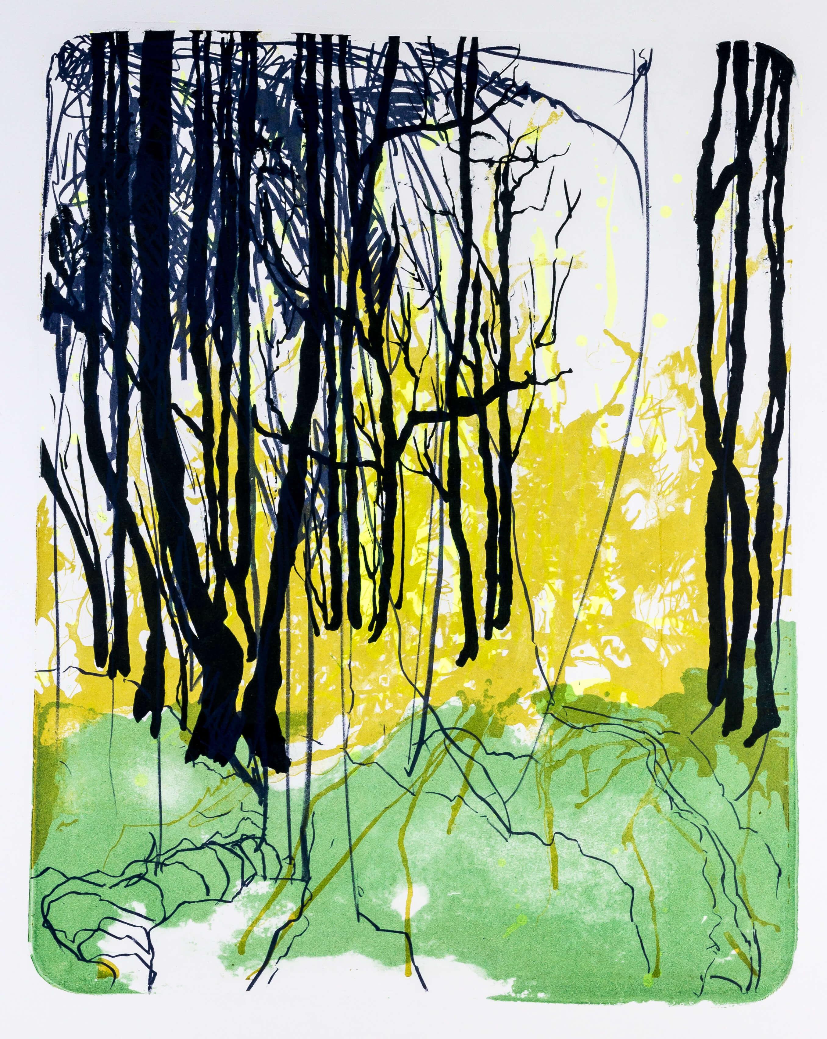 Katharina Albers, Wald X-XVI, 2015, Farblithographie, Unikat, 50×40 cm