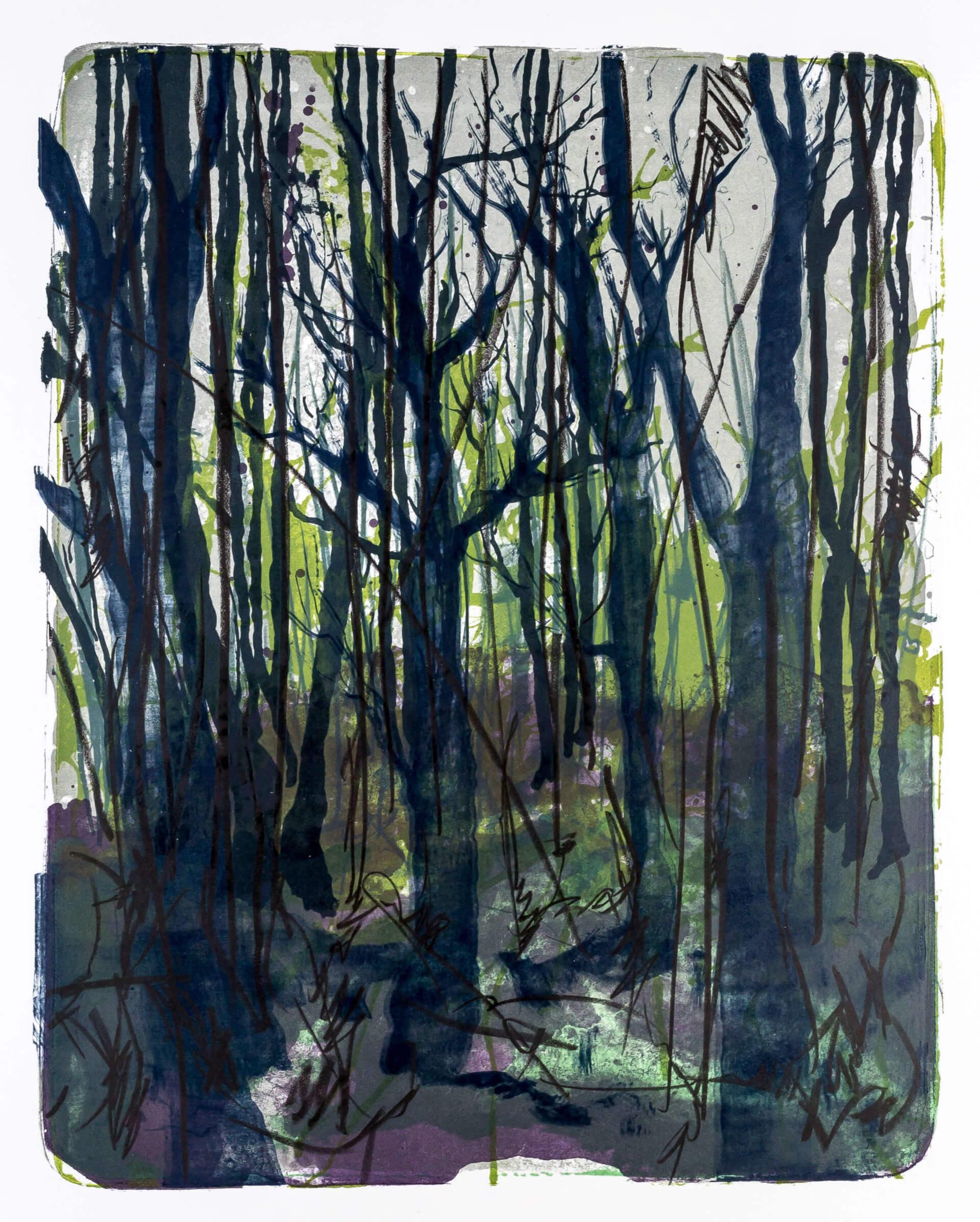 Katharina Albers, Wald X-XVII, 2015, Farblithographie, Unikat, 50×40 cm