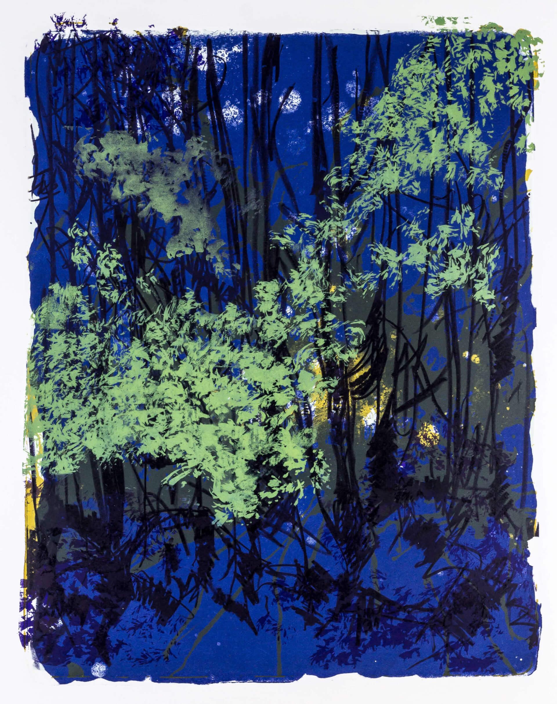 Katharina Albers, Wald X-XVIII, 2015, Farblithographie, Unikat, 50×40 cm