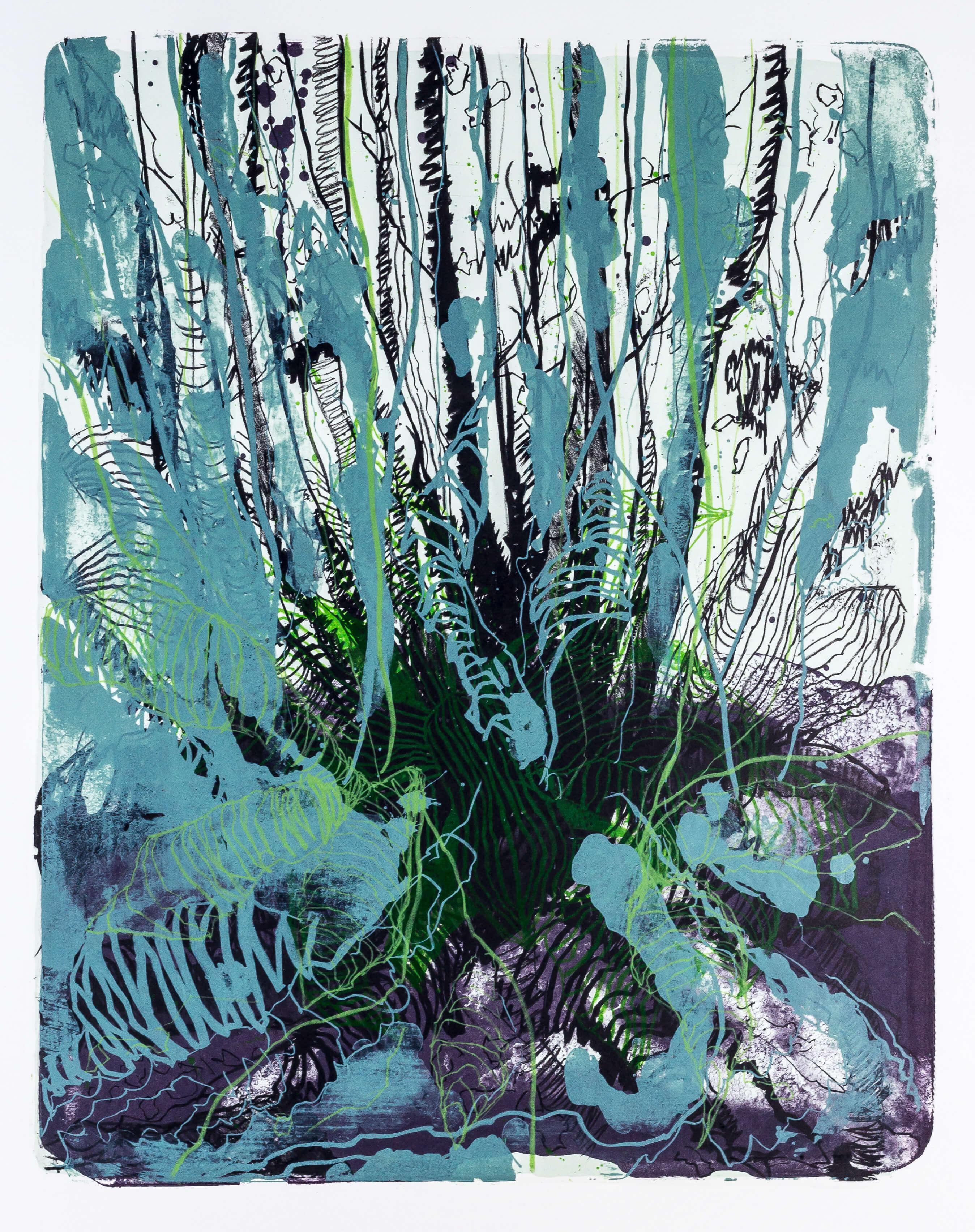 Katharina Albers, Wald X-XX, 2015, Farblithographie, Unikat, 50×40 cm