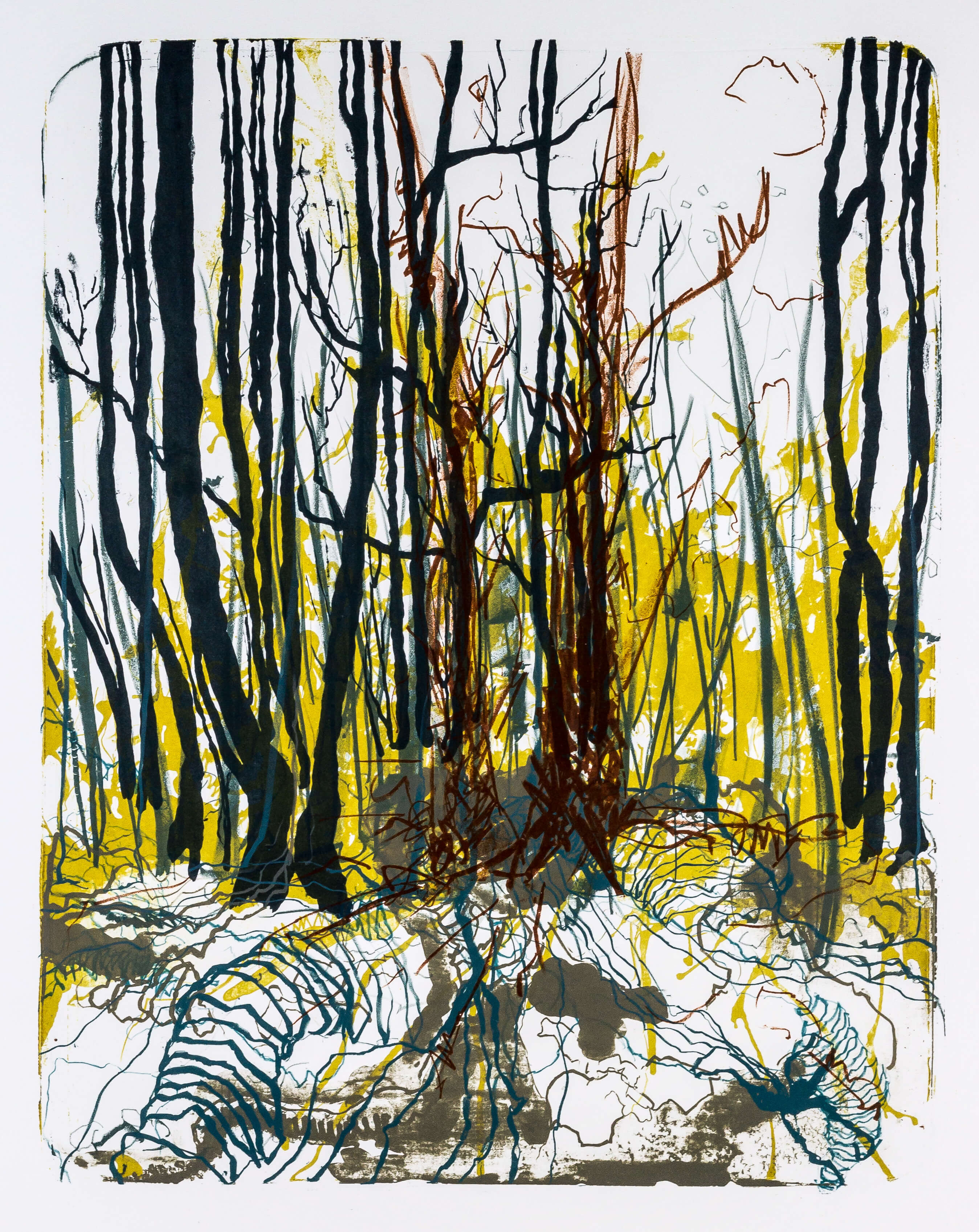 Katharina Albers, Wald X-XXII, 2015, Farblithographie, Unikat, 50×40 cm