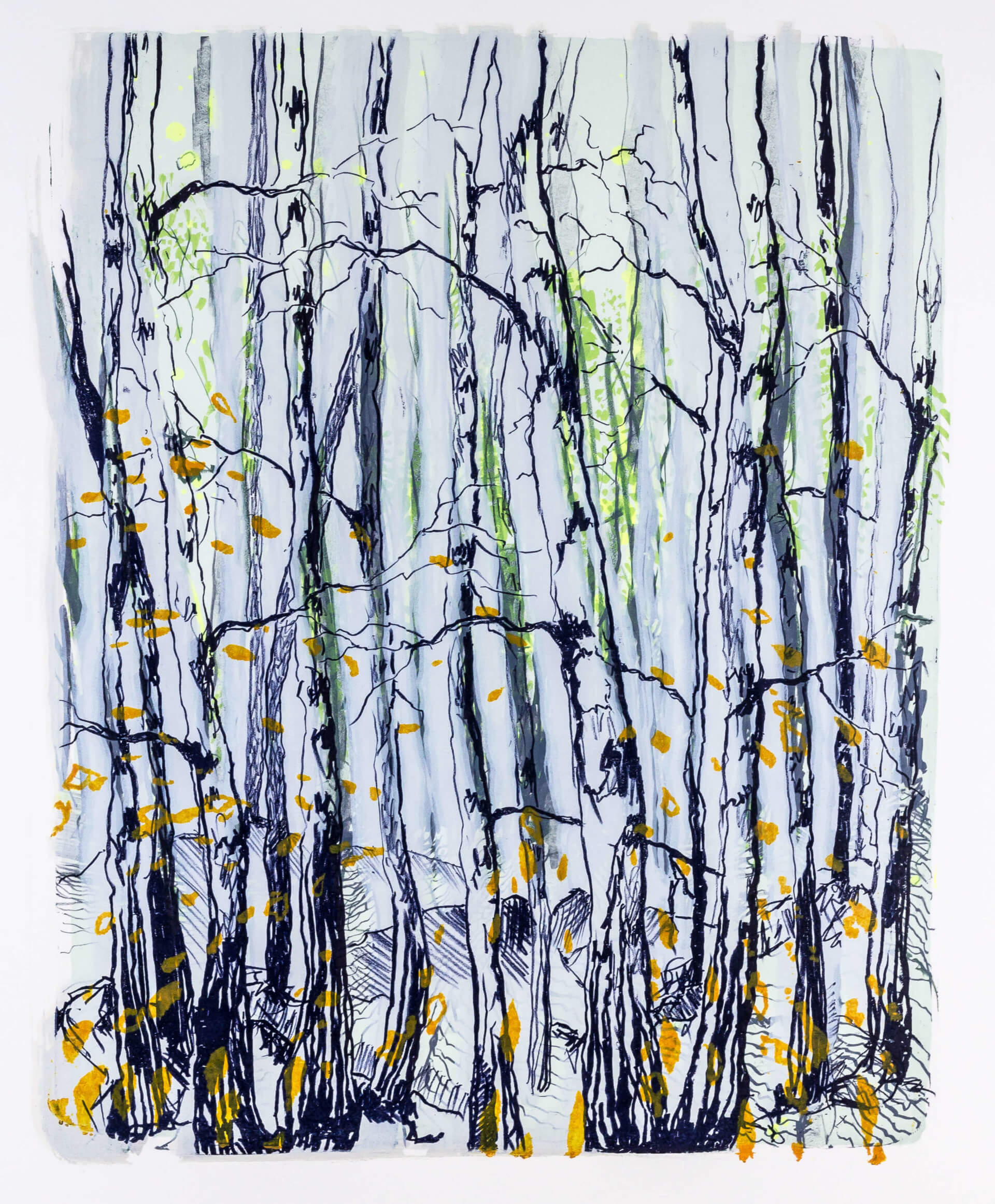 Katharina Albers, Wald X-XXIII, 2015, Farblithographie, Unikat, 50×40 cm