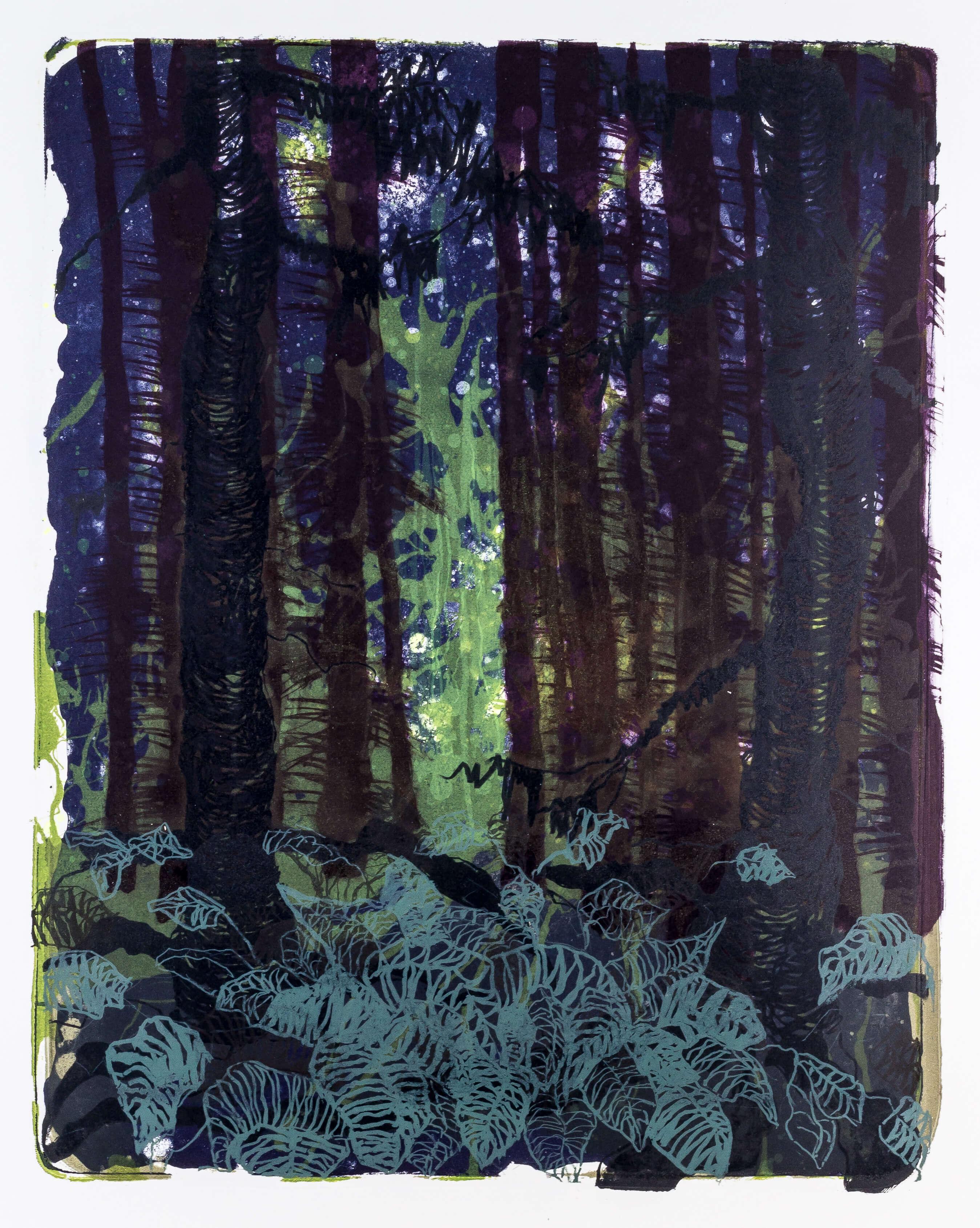 Katharina Albers, Wald X-XXIX, 2015, Farblithographie, Unikat, 50×40 cm