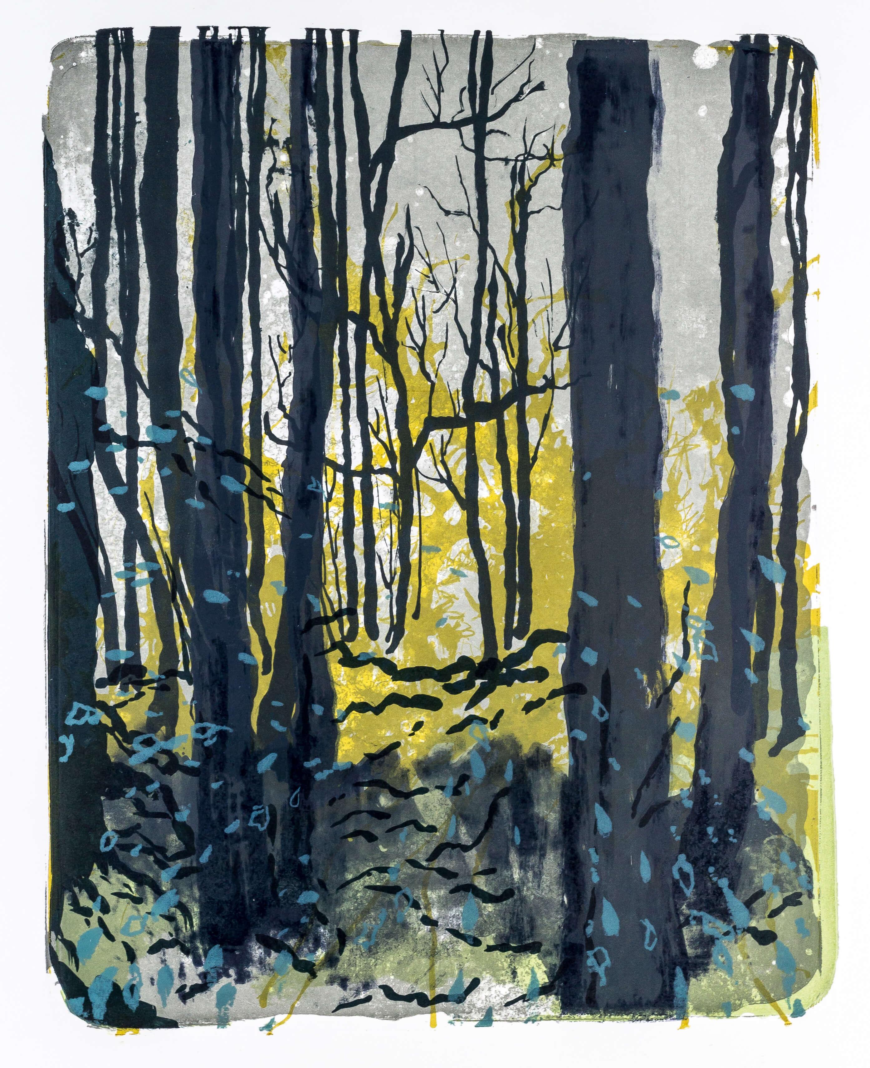 Katharina Albers, Wald X-XXVI, 2015, Farblithographie, Unikat, 50×40 cm