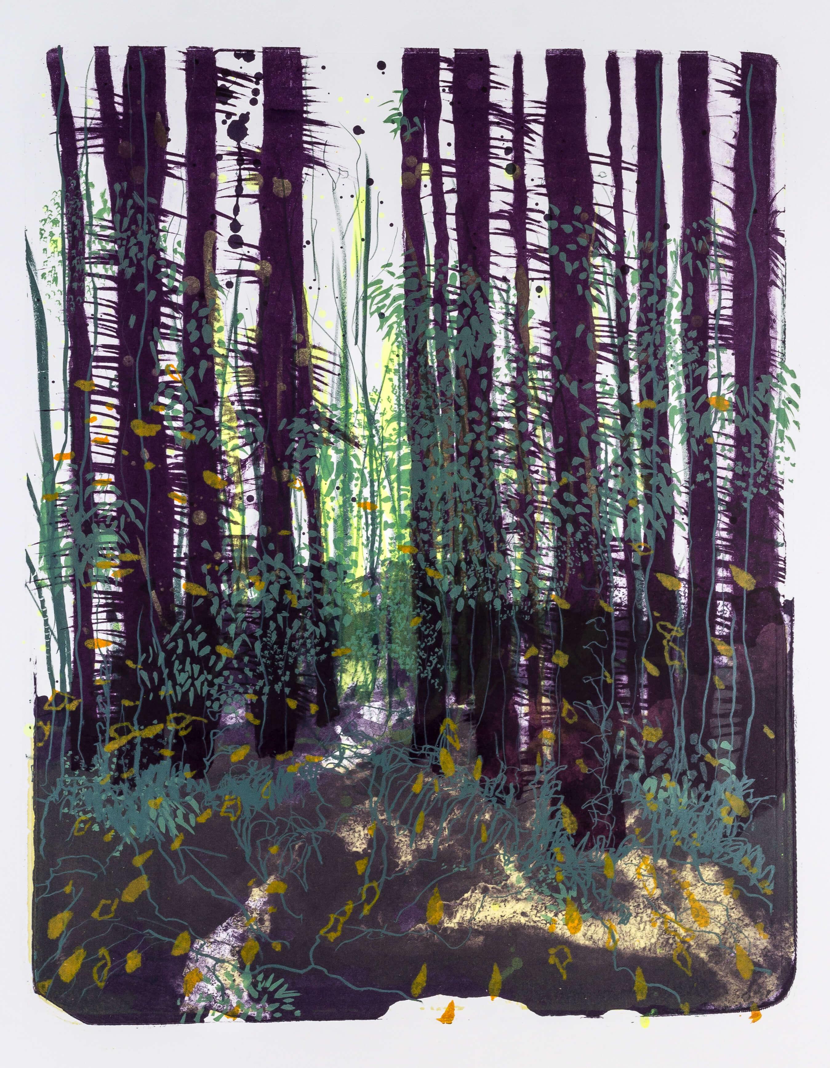Katharina Albers, Wald X-XXVIII, 2015, Farblithographie, Unikat, 50×40 cm