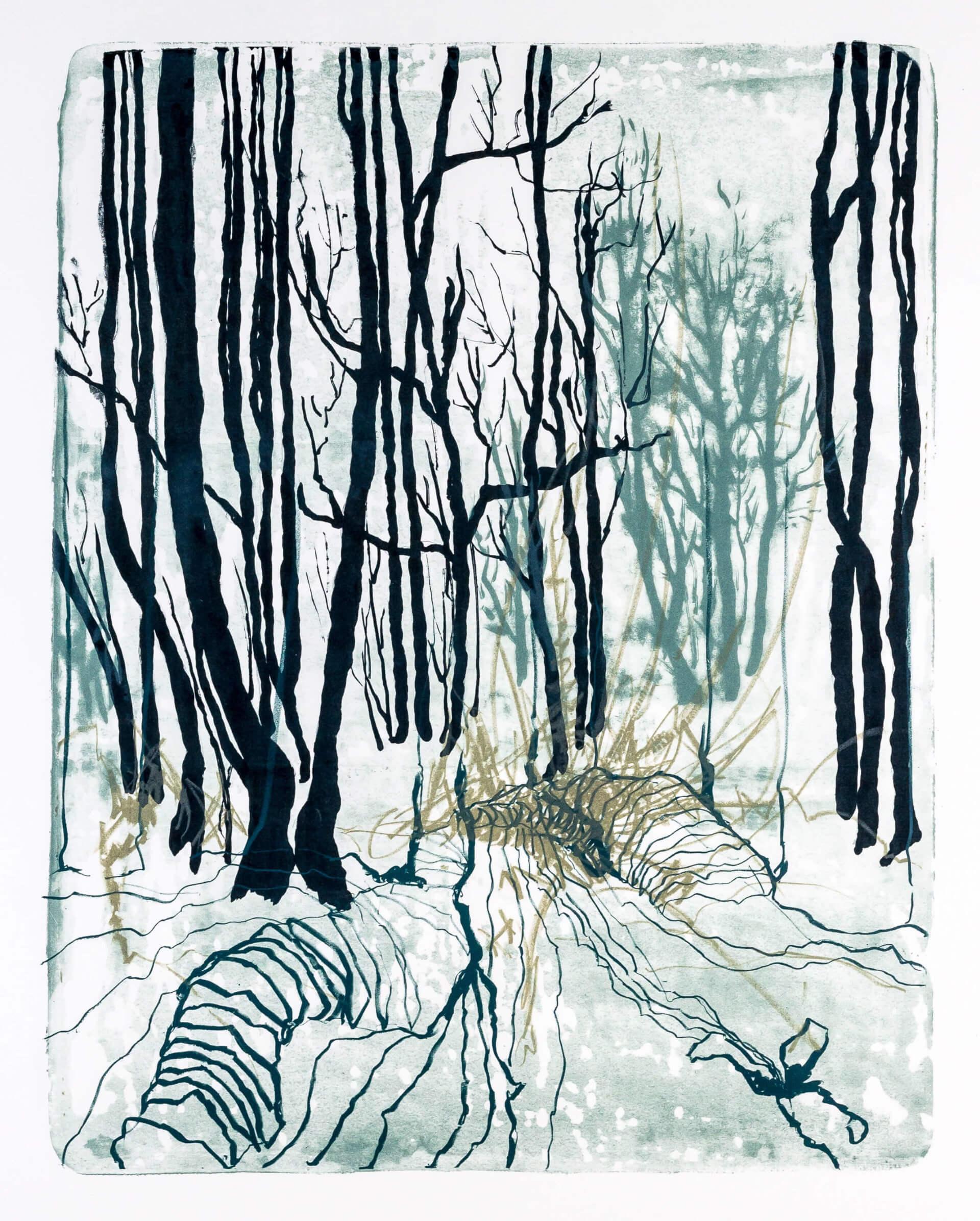 Katharina Albers, Wald X-XXXI, 2015, Farblithographie, Unikat, 50×40 cm