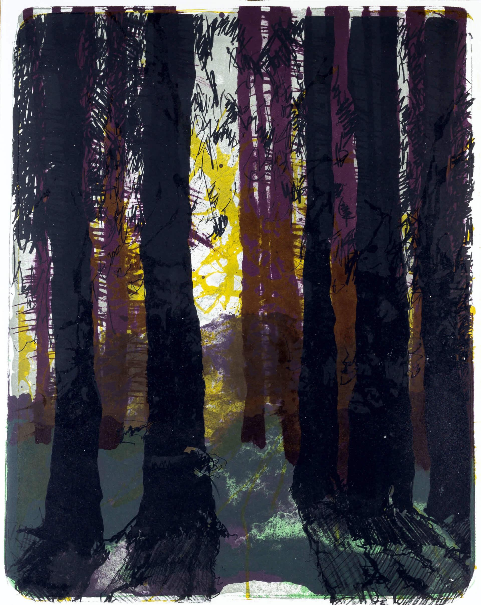 Katharina Albers, Wald X-XXXII, 2015, Farblithographie, Unikat, 50×40 cm