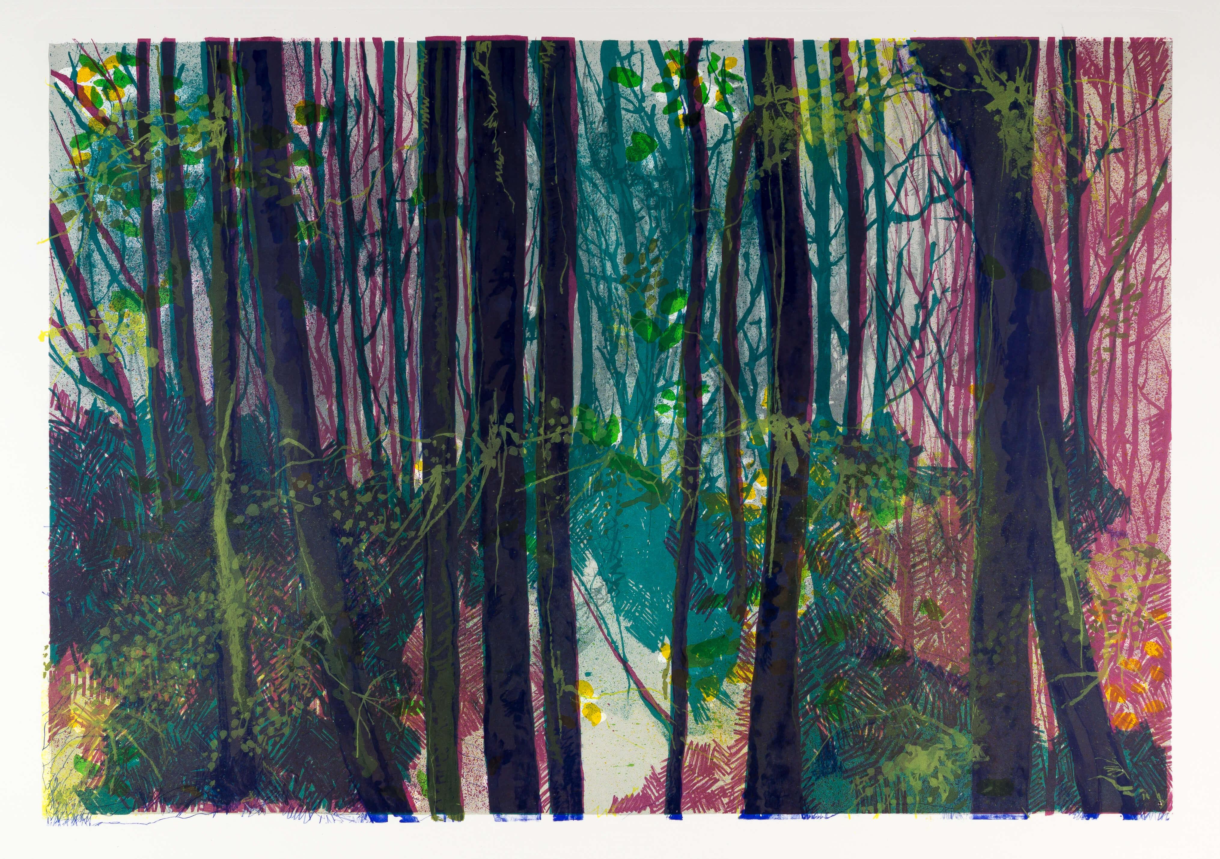 Katharina Albers, Wald XIV, 2014, Farblithographie, 3 Auflagen, 64×92 cm