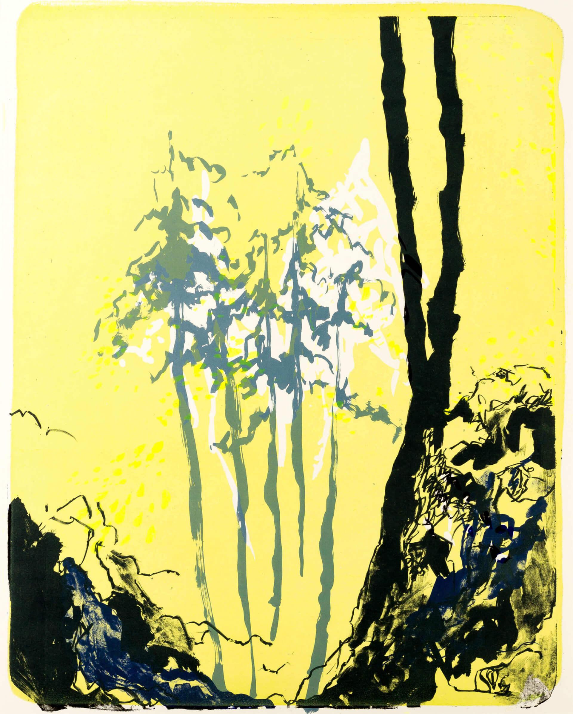 Katharina Albers, Wald X(N)-I, 2015, Farblithographie, Unikat 50x40 cm