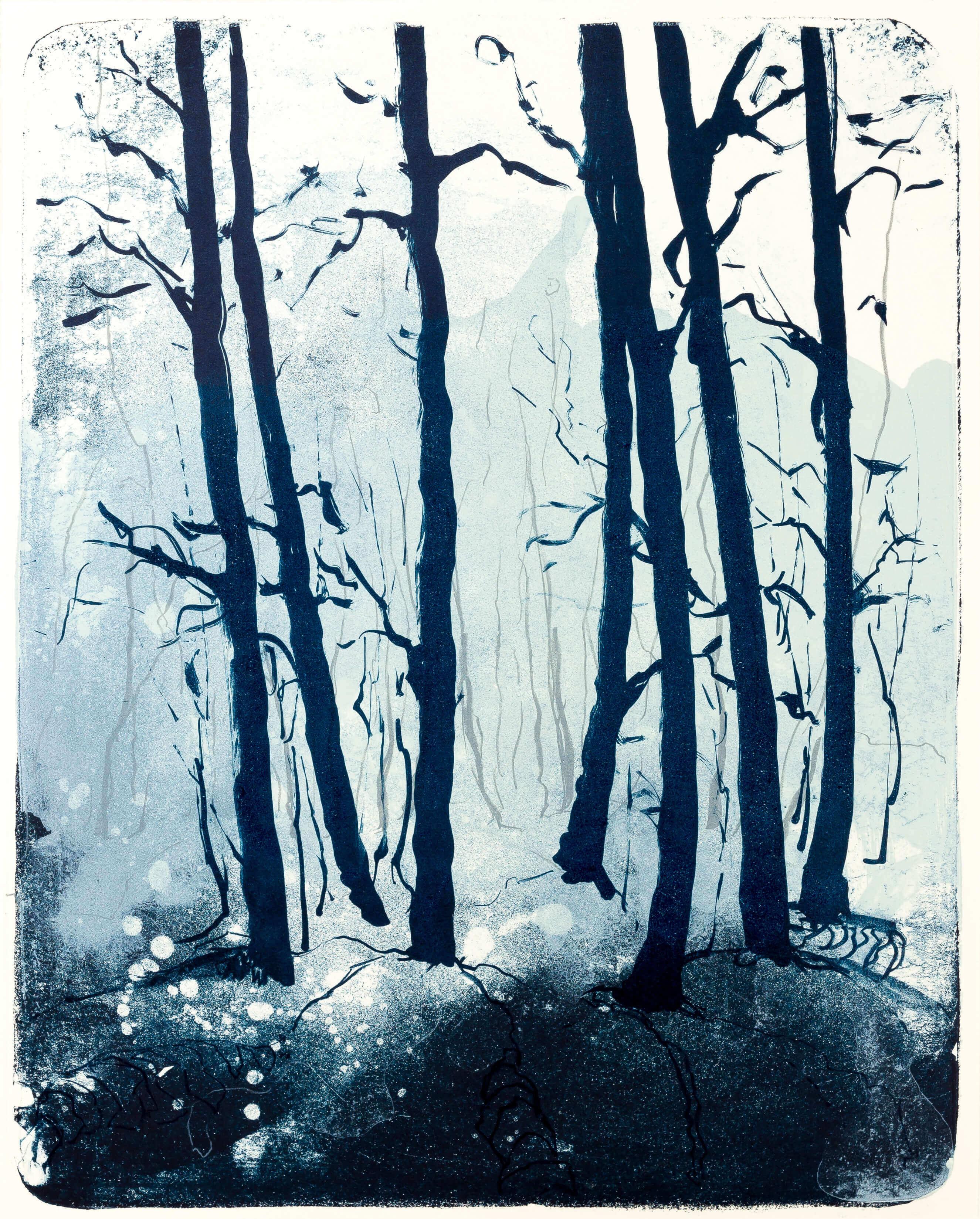 Katharina Albers, Wald X(N)-II, 2015, Farblithographie, Unikat 50x40 cm