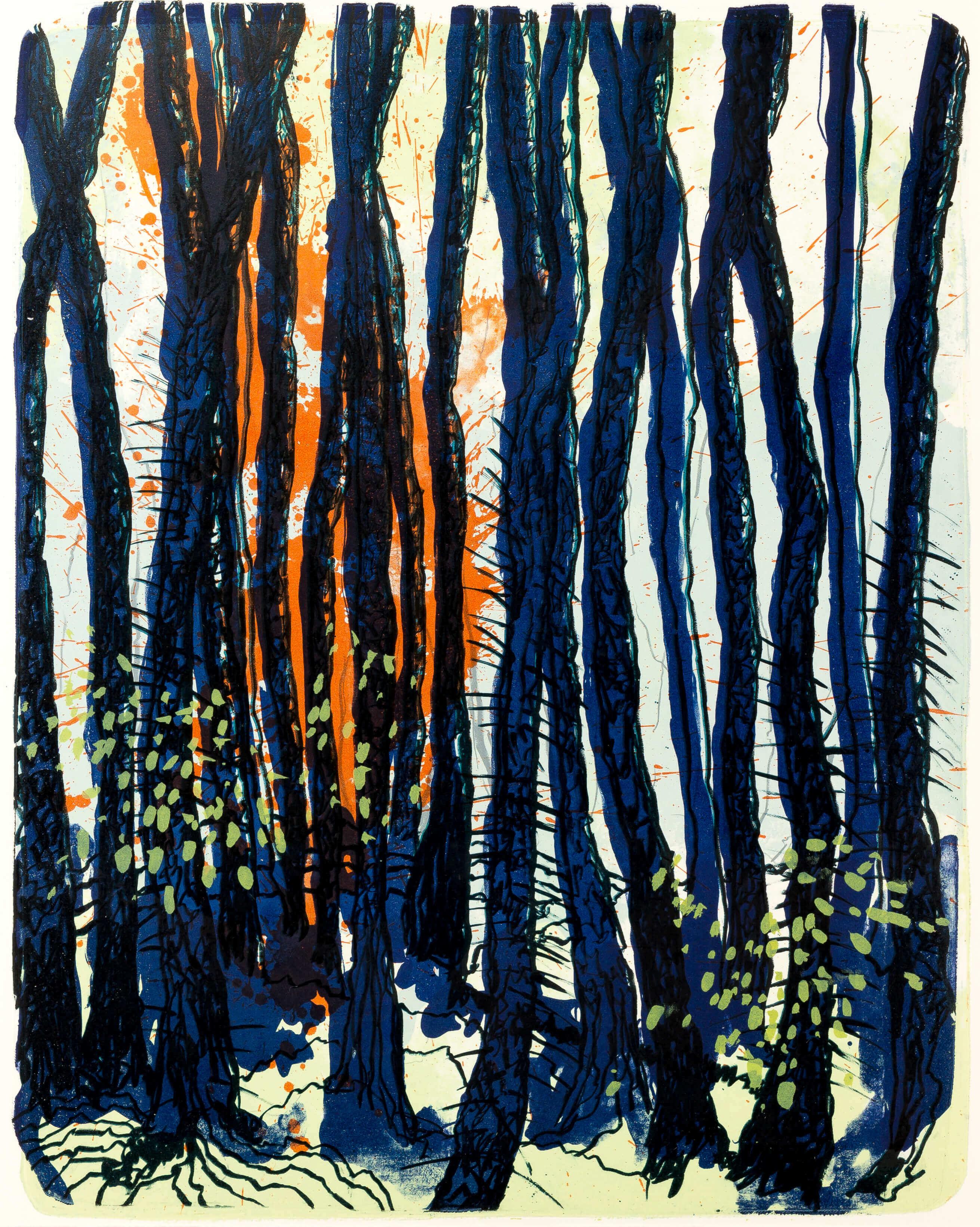 Katharina Albers, Wald X(N)-III, 2015, Farblithographie, Unikat 50x40 cm