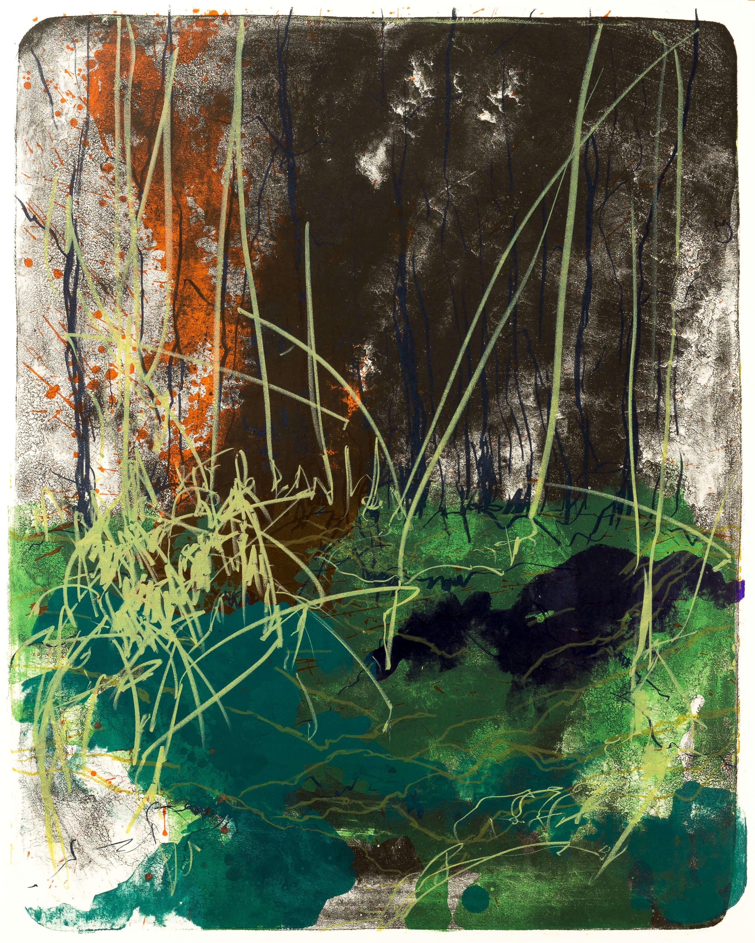 Katharina Albers, Wald X(N)-IV, 2015, Farblithographie, Unikat 50x40 cm