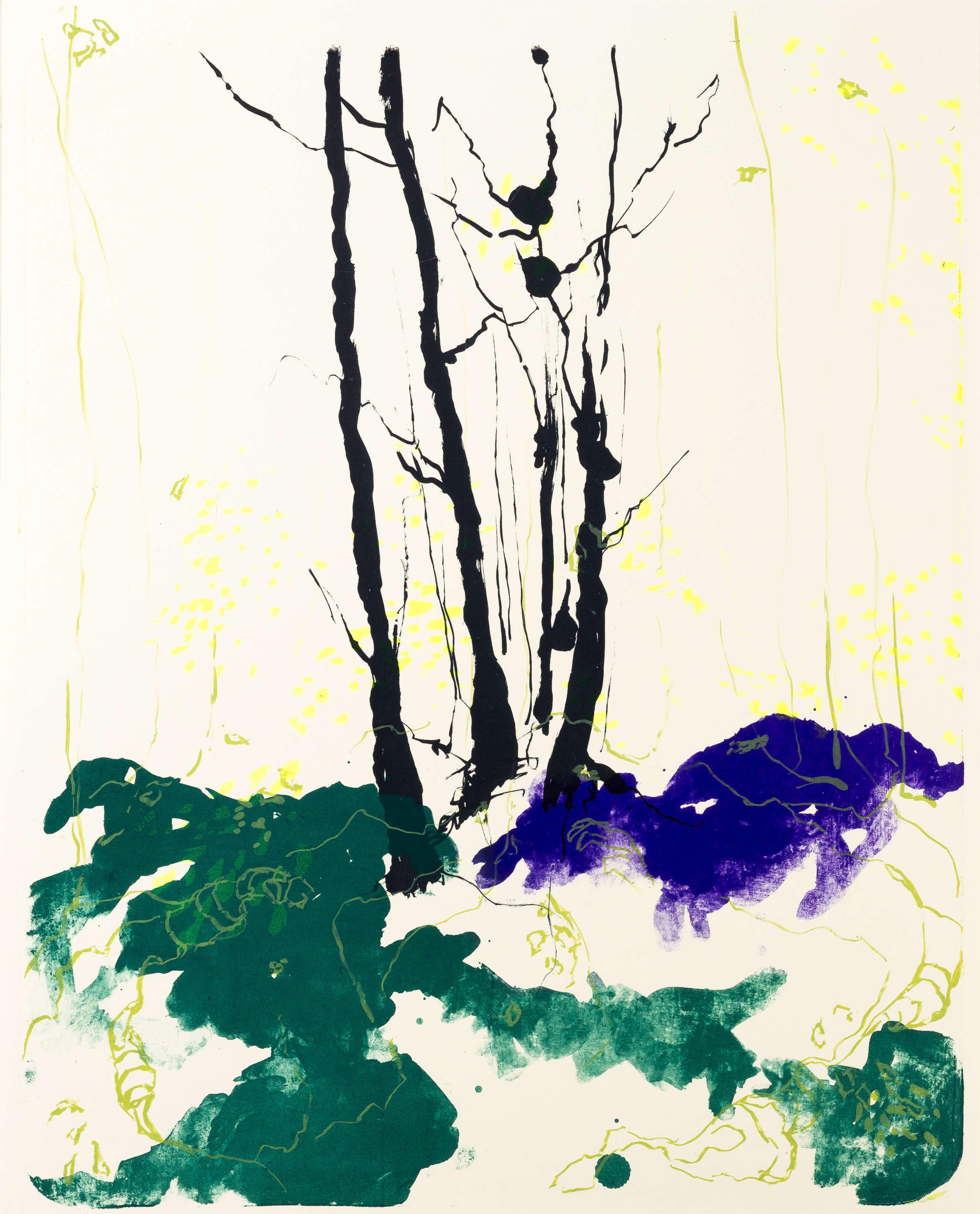 Katharina Albers, Wald X(N)-IX, 2015, Farblithographie, Unikat, 50x40 cm