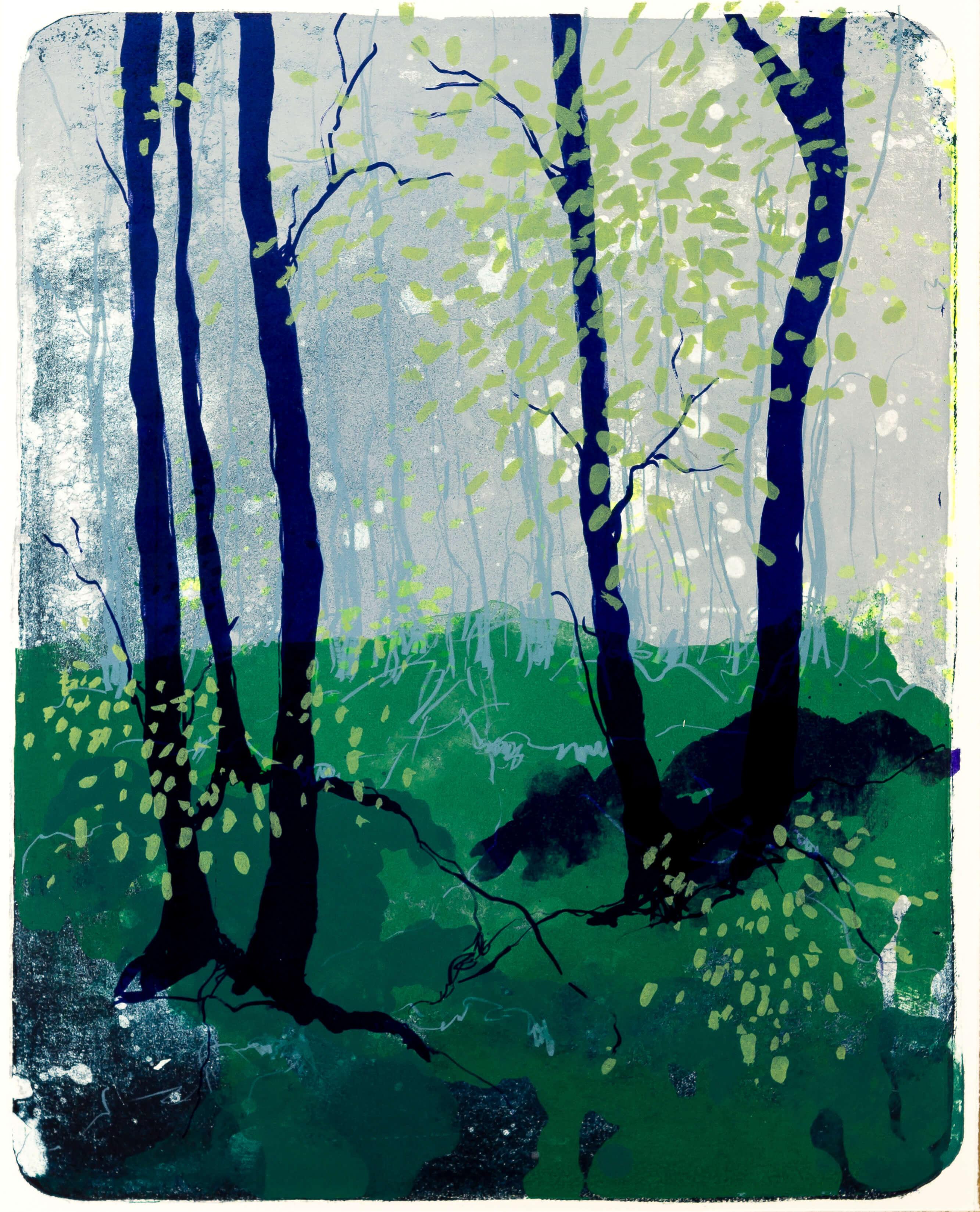 Katharina Albers, Wald X(N)-V, 2015, Farblithographie, Unikat 50x40 cm